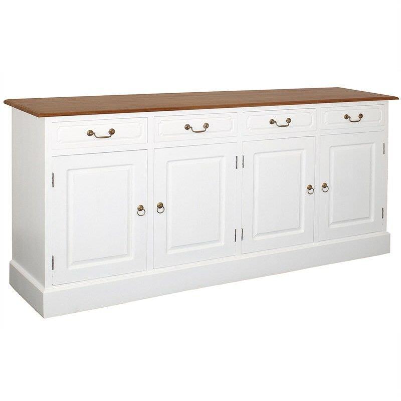 Tasmania Mahogany Timber 4 Door 4 Drawer 190cm Buffet Table, Caramel/White