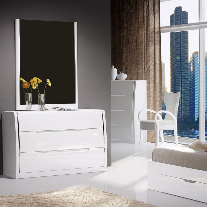 Gelling 3 Drawer Dresser, High Gloss White (without mirror)