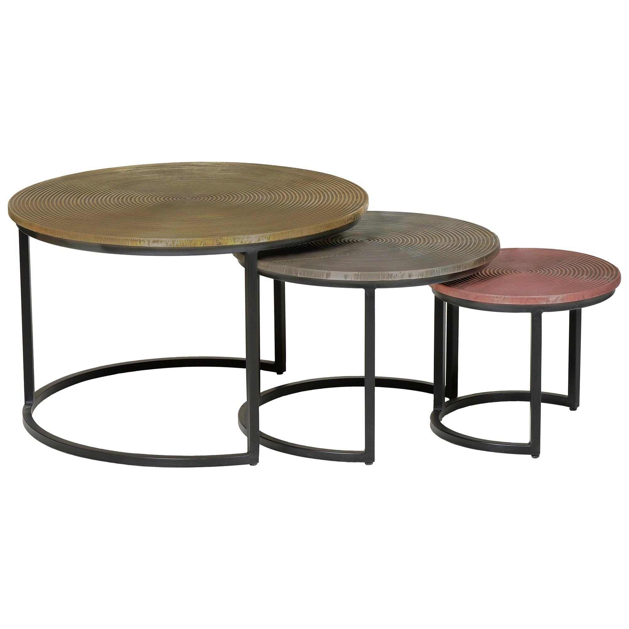 Bernon 3 Piece Metal Round Nesting Coffee Table Set