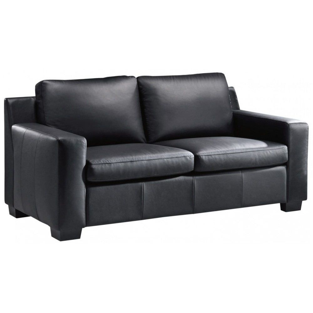 Ridley Split Leather 2 5 Seater Pull Out Sofa Bed Black