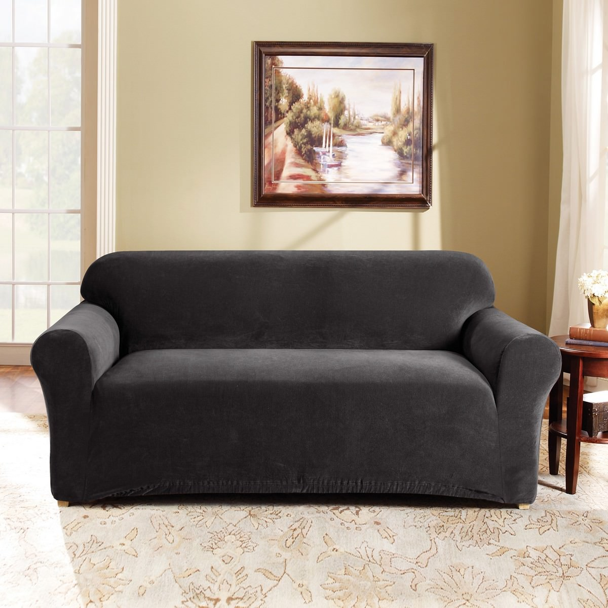 Sure Fit Stretch Pearson Sofa Cover, 2 Seater, Ebony