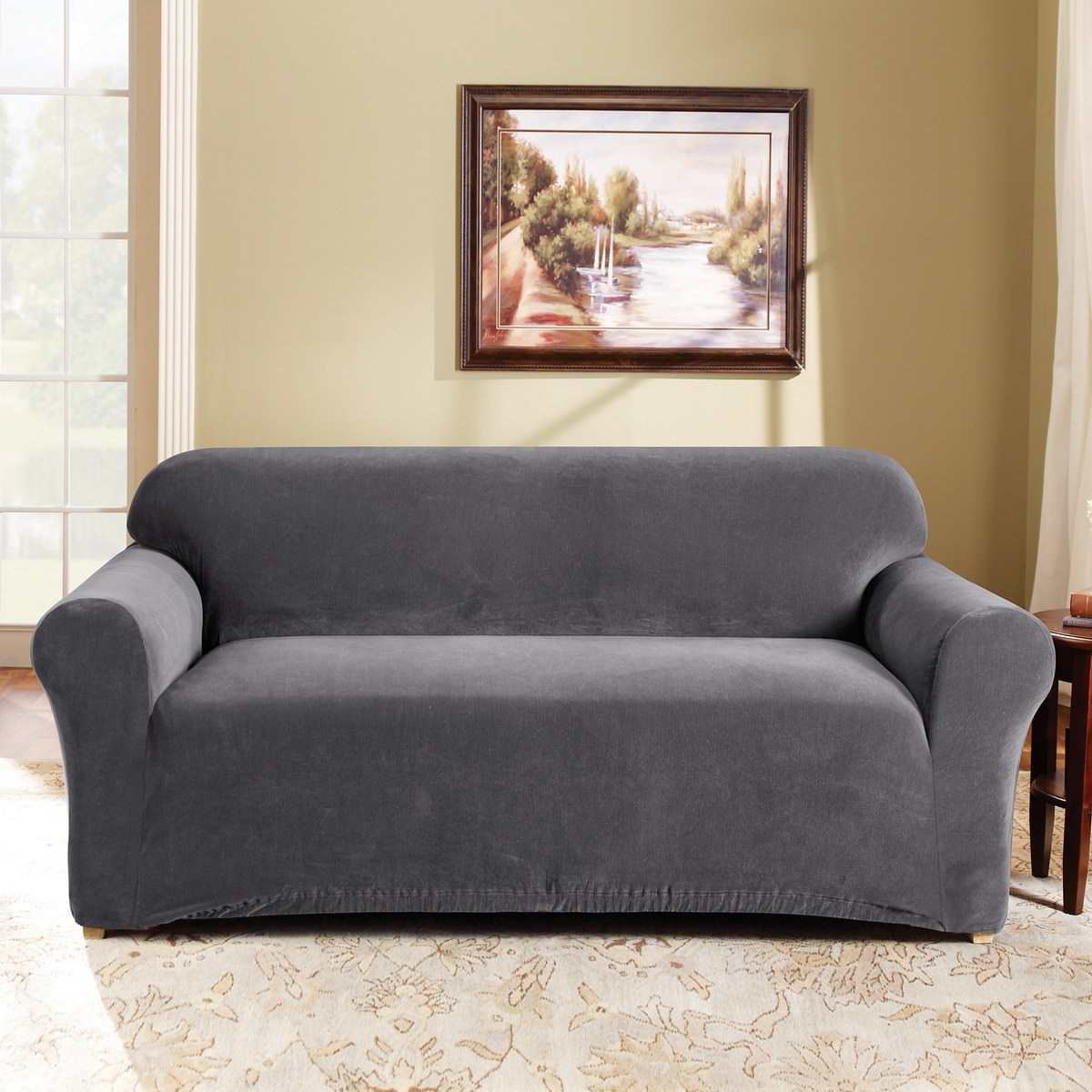 Sure Fit Stretch Pearson Sofa Cover, 2 Seater, Slate