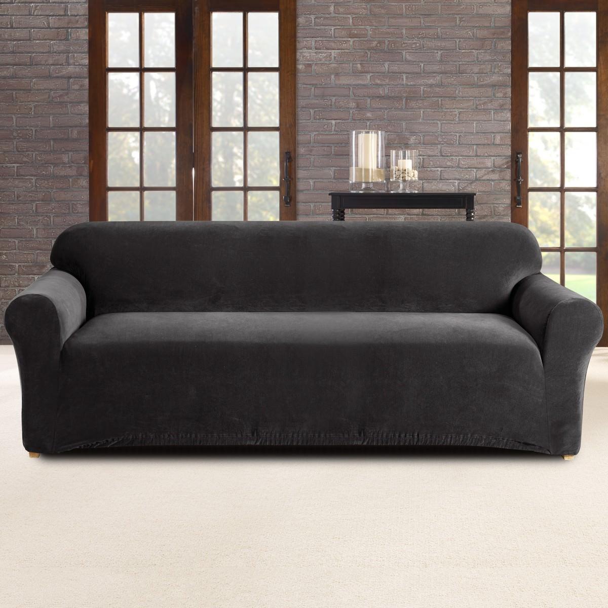 Sure Fit Stretch Pearson Sofa Cover, 3 Seater, Ebony