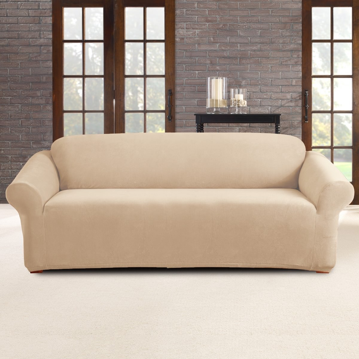 Sure Fit Stretch Pearson Sofa Cover, 3 Seater, Ivory