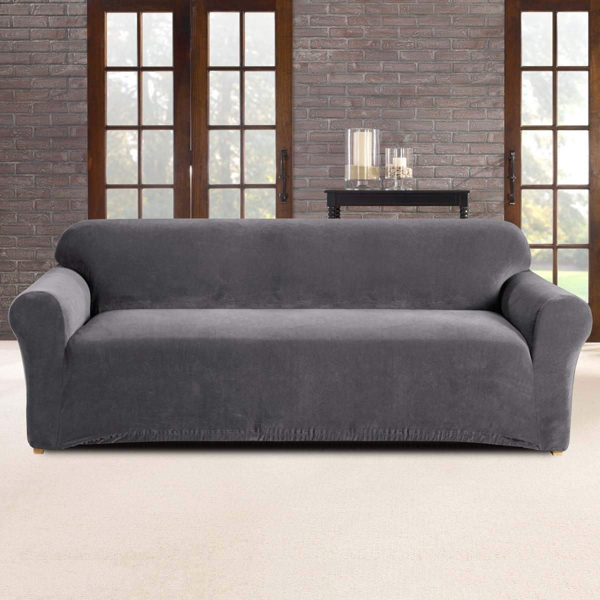Sure Fit Stretch Pearson Sofa Cover, 3 Seater, Slate