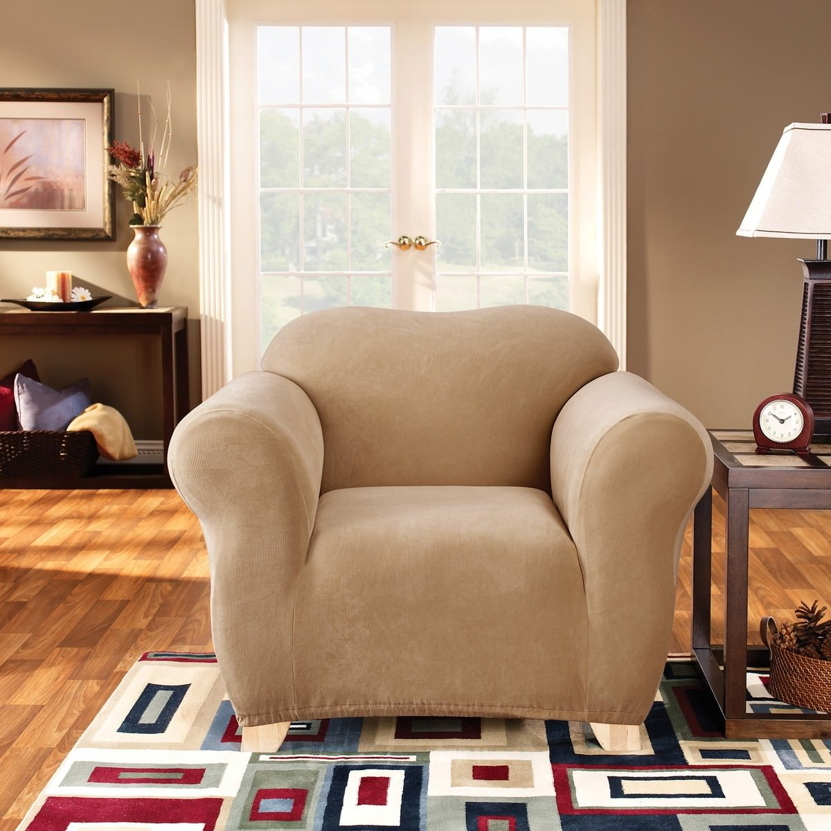 Sure Fit Stretch Pearson Armchair Cover, Dark Flax