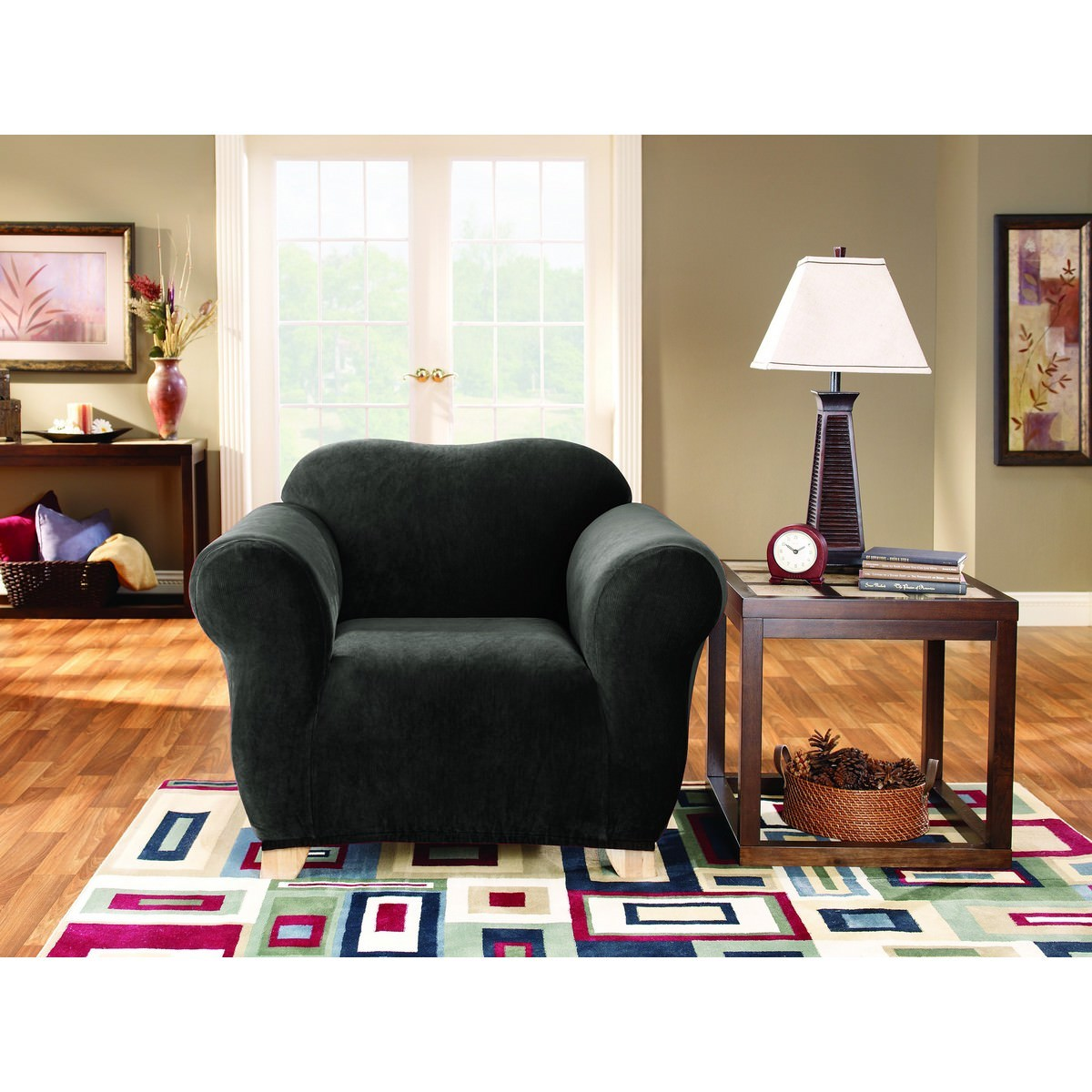 Sure Fit Stretch Pearson Armchair Cover, Ebony