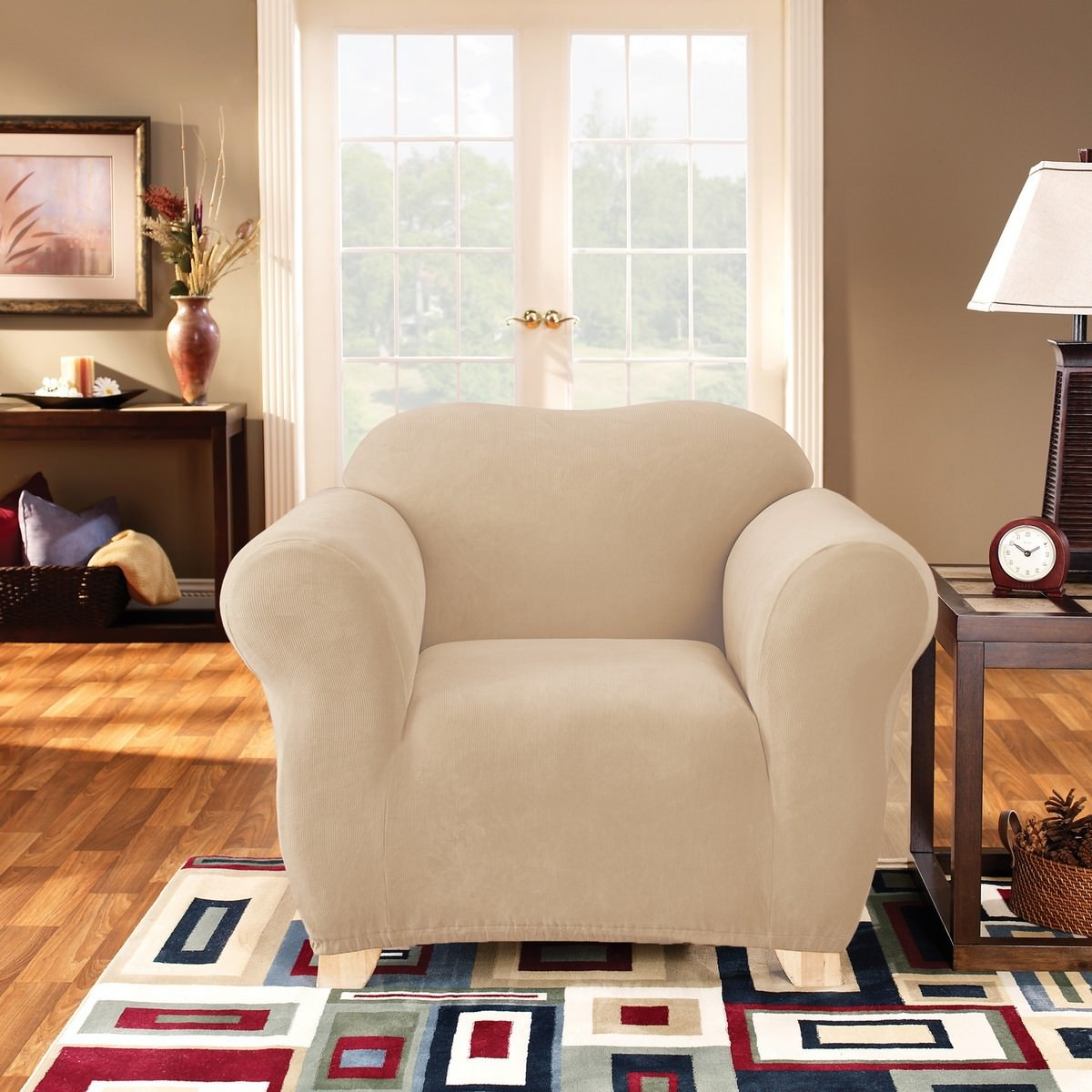 Sure Fit Stretch Pearson Armchair Cover, Ivory