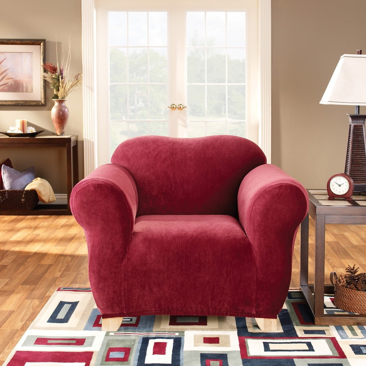 Sure Fit Stretch Pearson Armchair Cover, Red