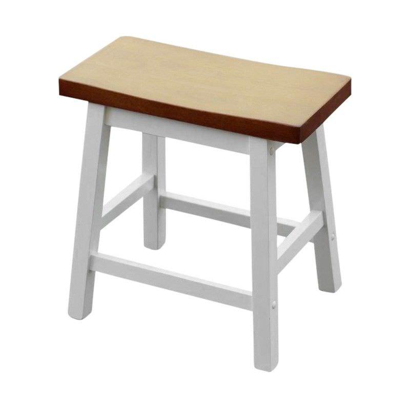 Sander Timber Table Stool, White / Teak
