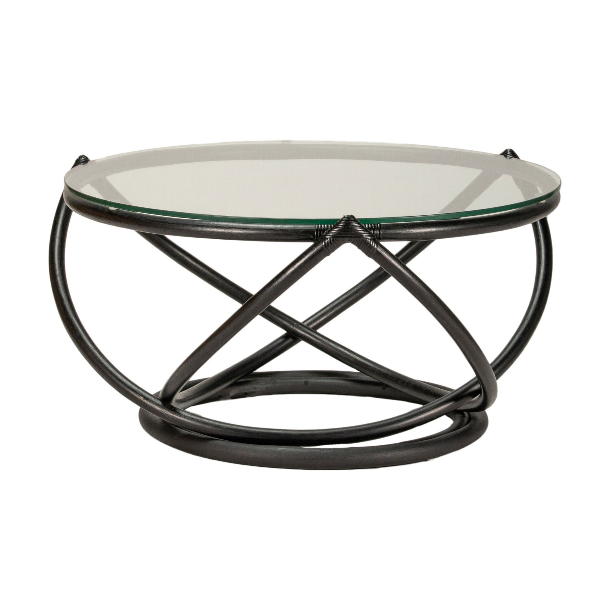 Caicos Glass Topped Rattan Round Coffee Table, 85cm, Black