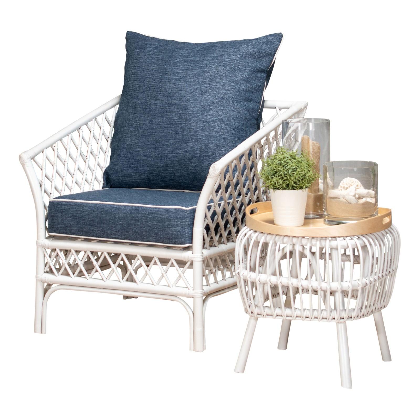 Charlotte Rattan Armchair, Blue Cushion