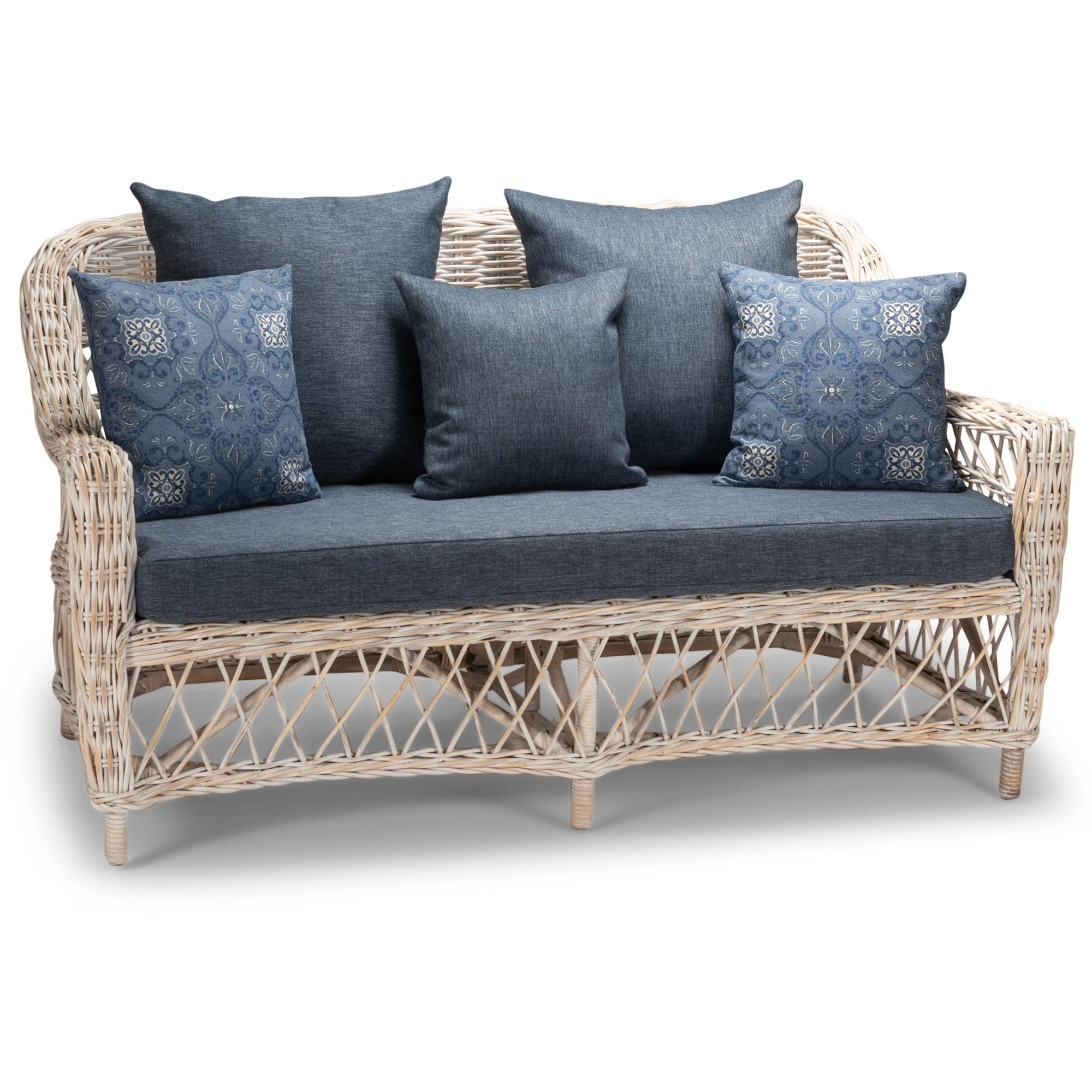 Nassau Rattan Sofa, 2 Seater, White Wash / Blue