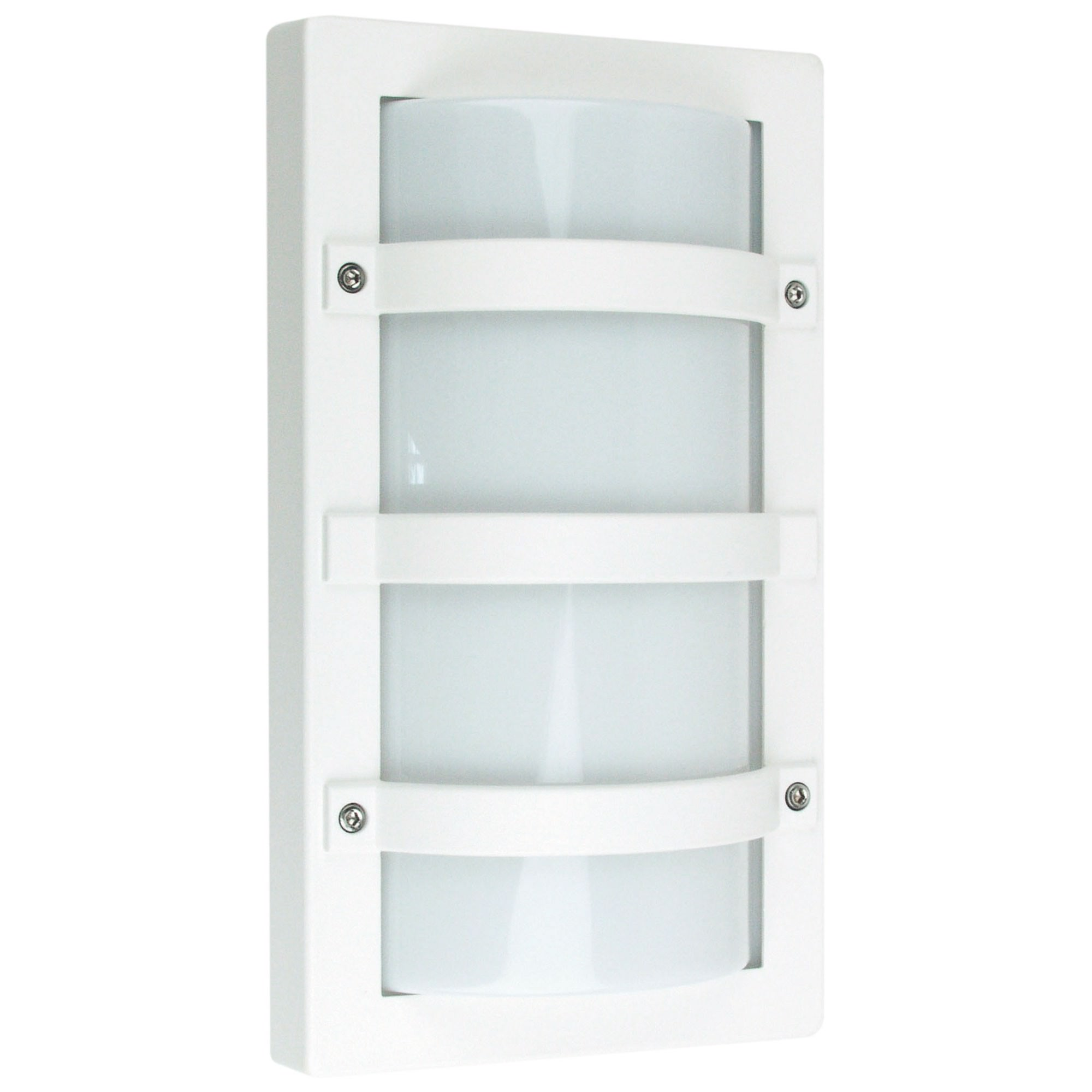 Trio IP65 Commercial Grade Exterior Bunker Wall Light, Large, White
