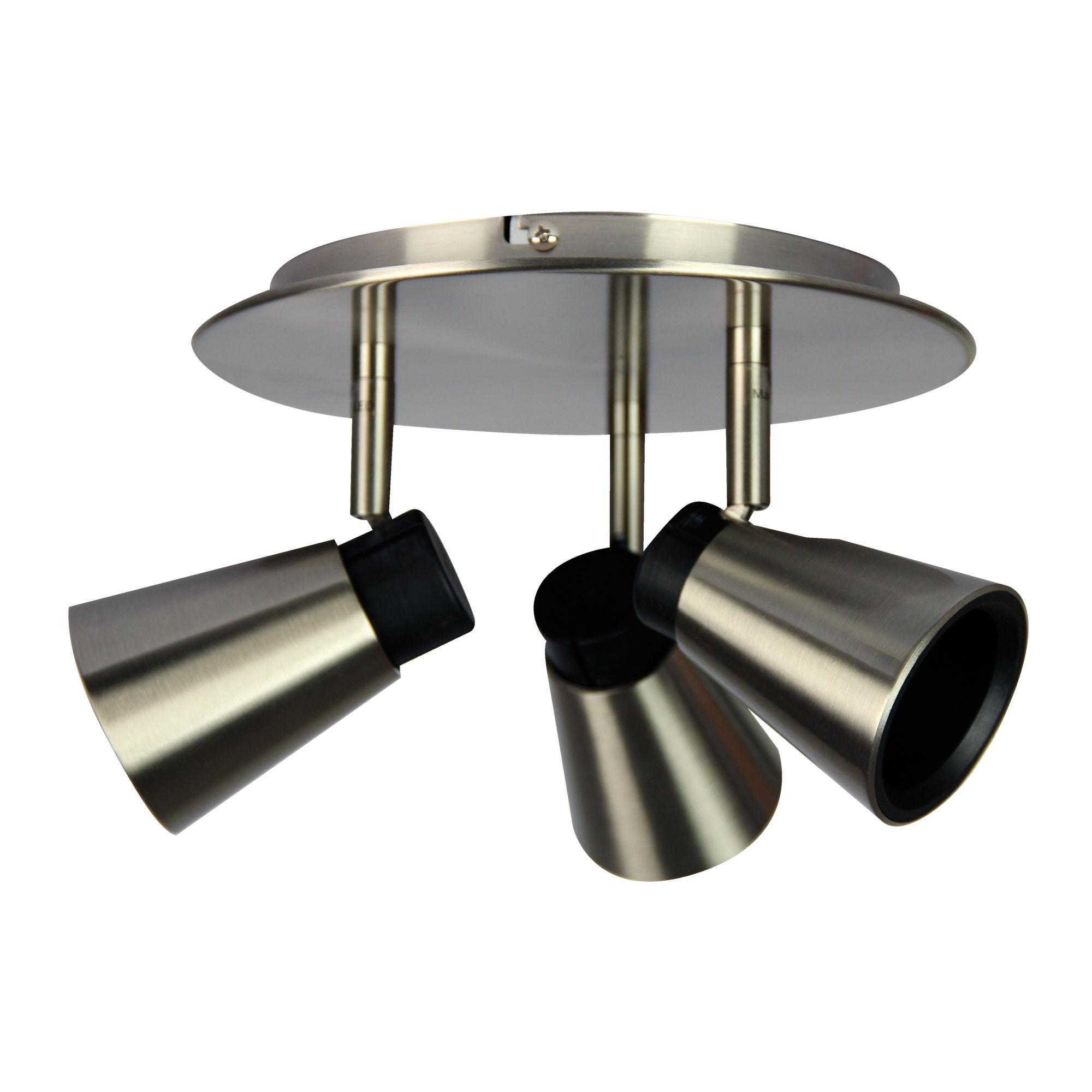 Zoom Commercial Grade Round Plate Spotlight, 3 Light, Brushed Steel