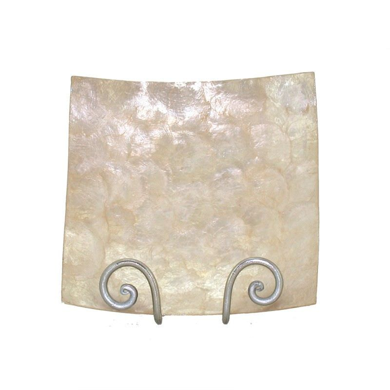 Capiz Shell Square Candle Plate  - 13x1x13cm