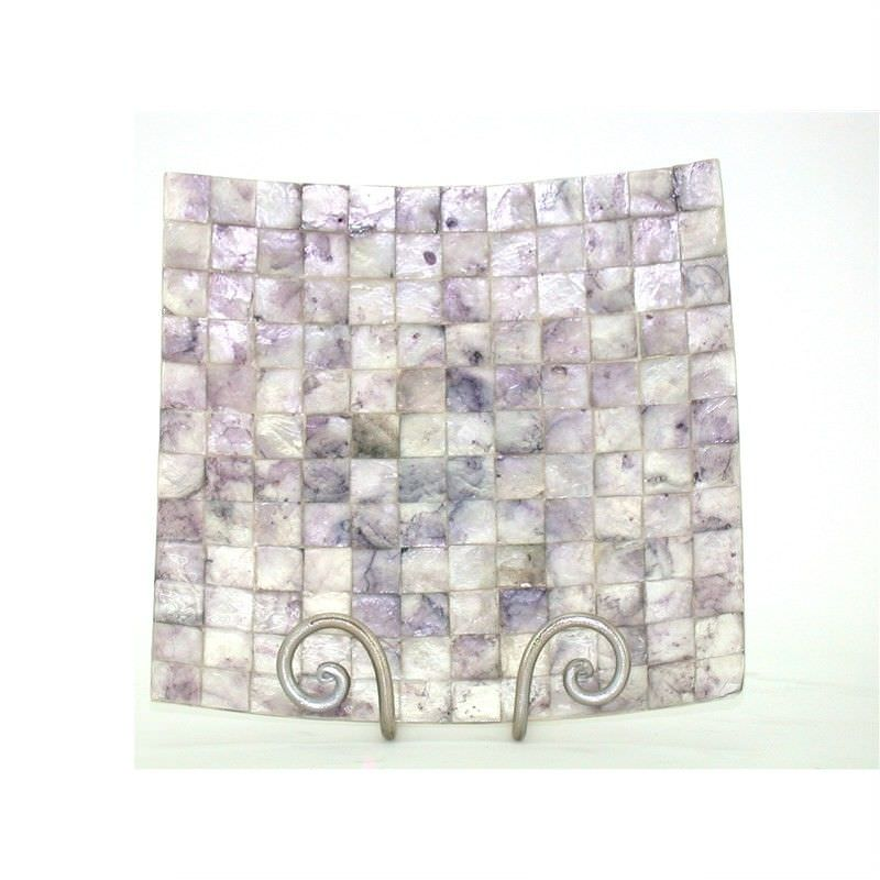 Mosaic Capiz Shell Square Candle Plate