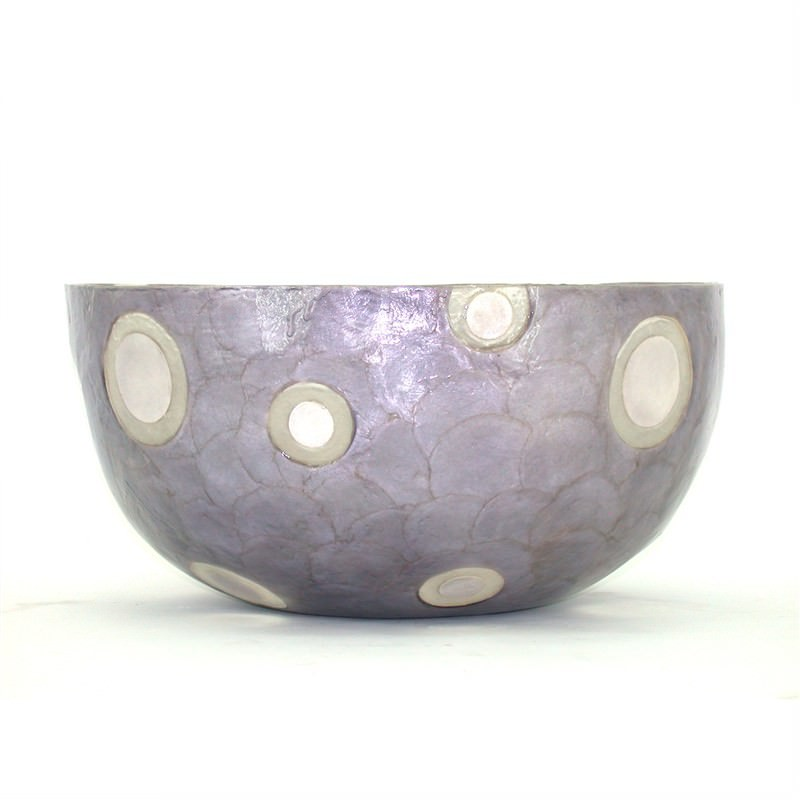 Capiz Shell Statement Bowl with Polyurethane Coating - 45x45x23cm