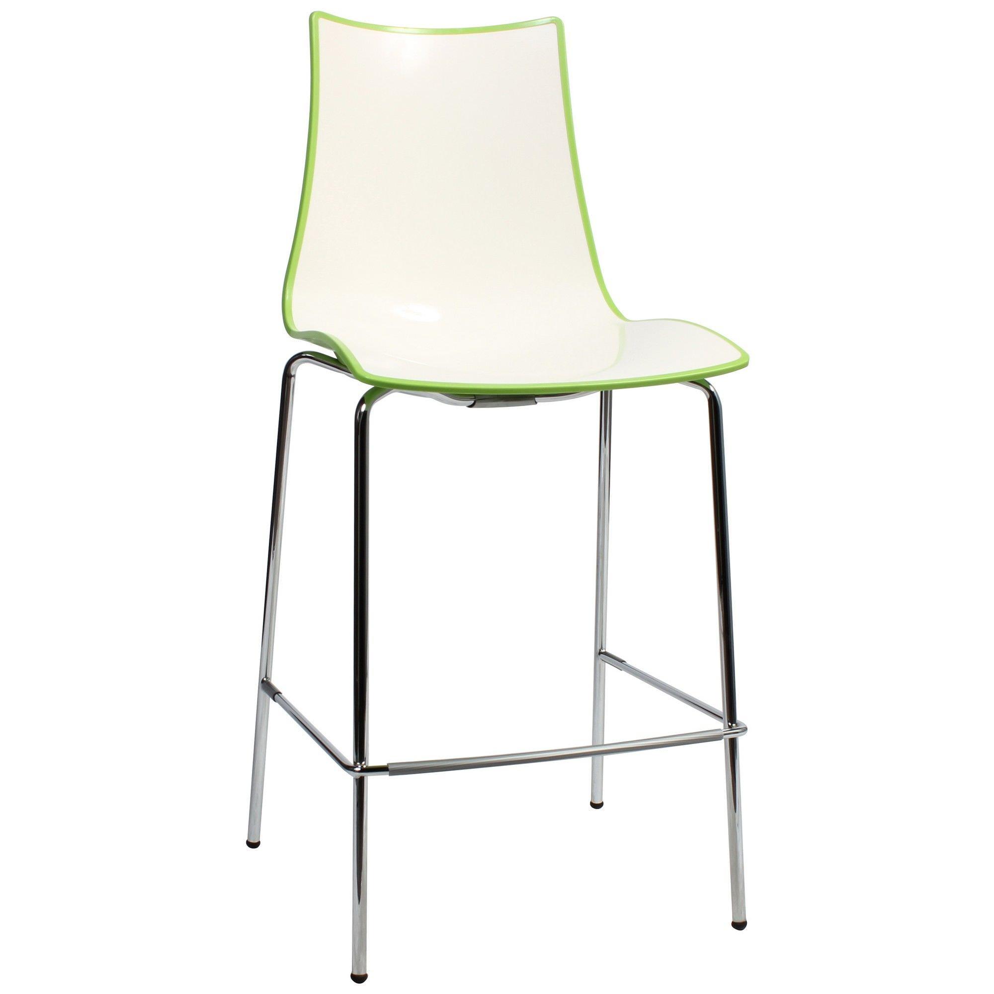 Zebra Bicolore Italian Made Commercial Grade Counter Stool, Metal Leg, Green / Chrome