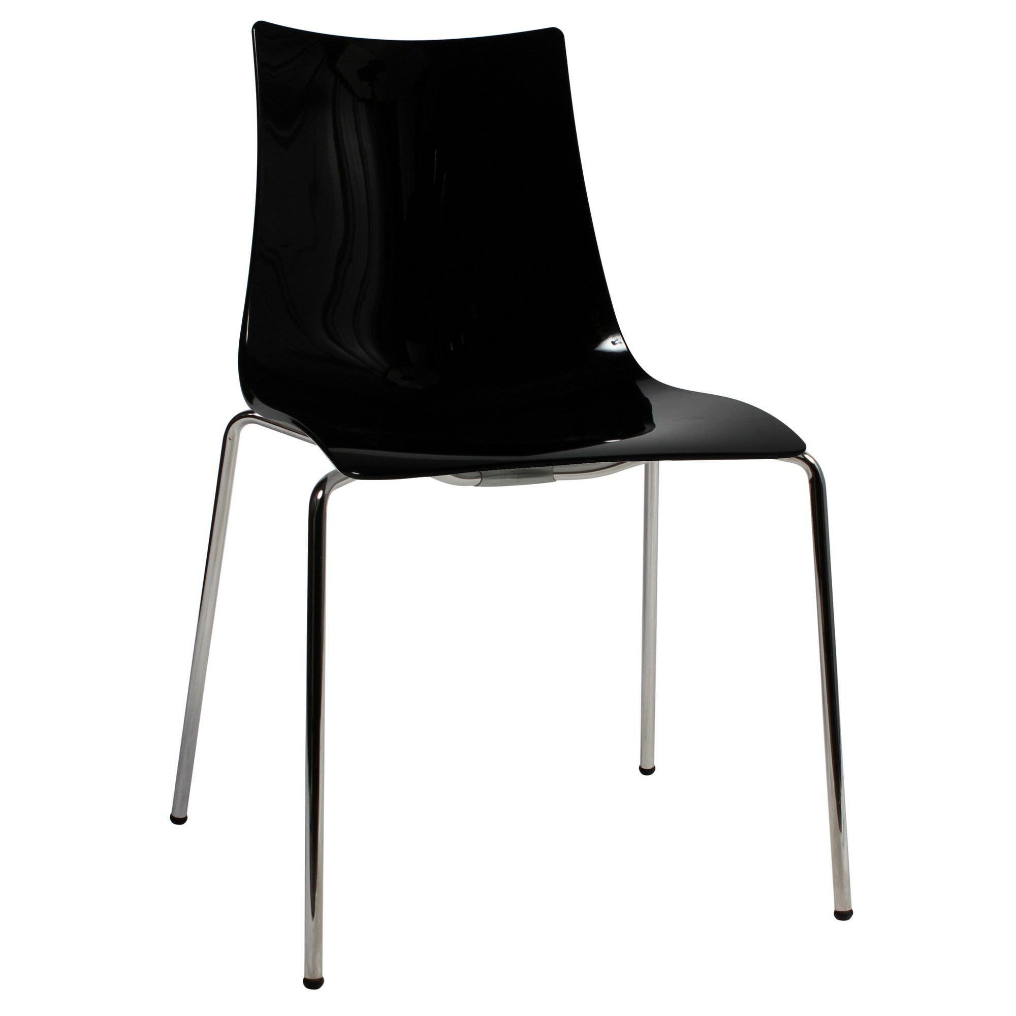 Zebra Italian Made Commercial Grade Dining Chair, Metal Leg, Black / Chrome