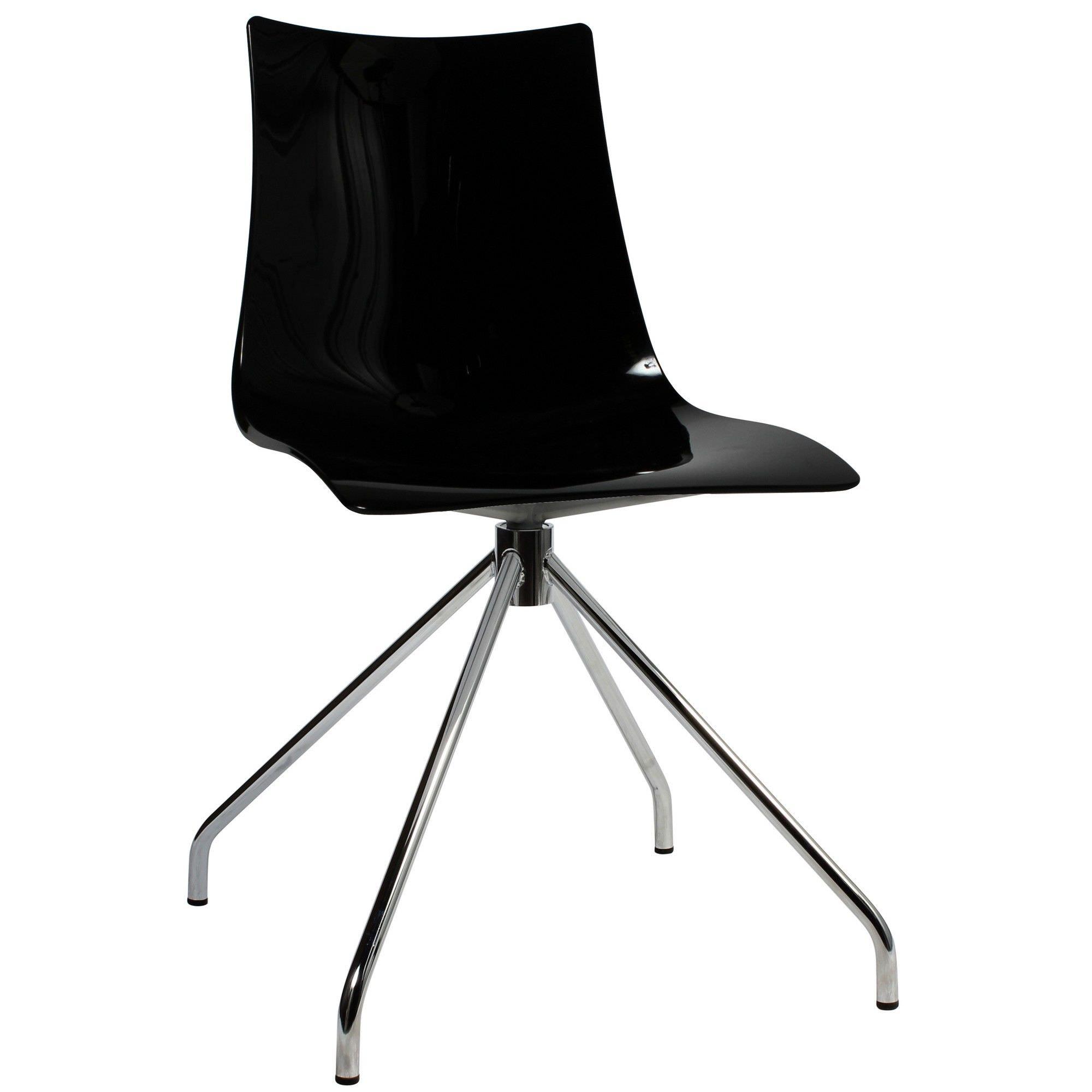 Zebra Italian Made Commercial Grade Dining Chair, Trestle Leg, Black / Chrome