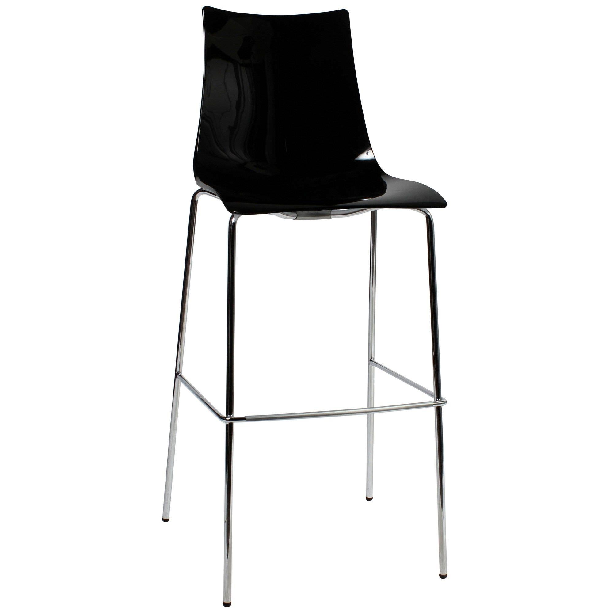 Zebra Italian Made Commercial Grade Bar Stool, Metal Leg, Black / Chrome