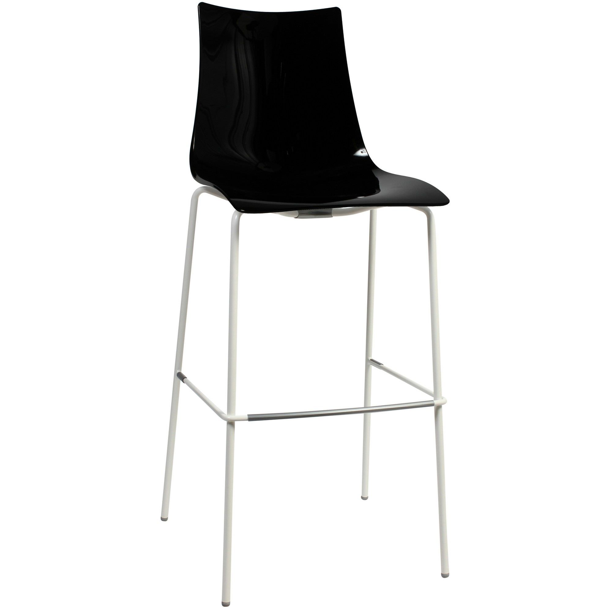 Zebra Italian Made Commercial Grade Indoor/Outdoor Bar Stool, Metal Leg, Black / White