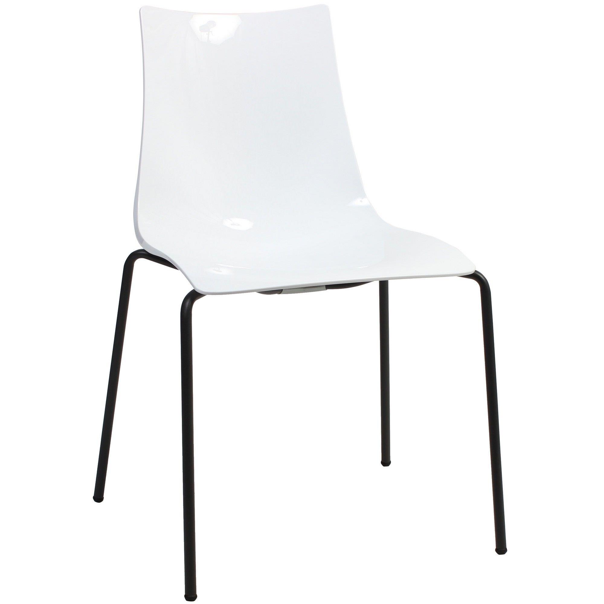 Zebra Italian Made Commercial Grade Dining Chair, Metal Leg, White / Anthracite