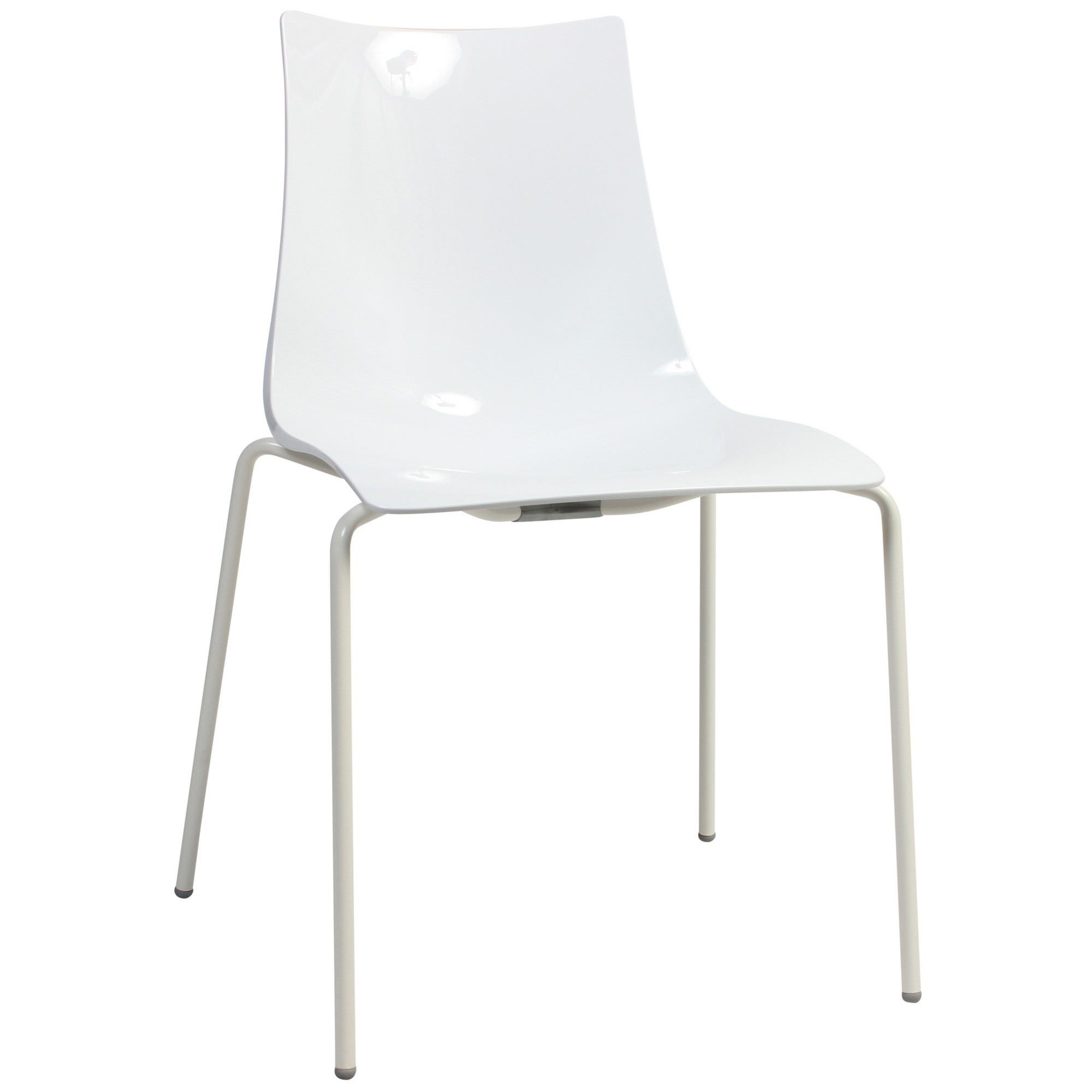 Zebra Italian Made Commercial Grade Indoor/Outdoor Dining Chair, Metal Leg, White