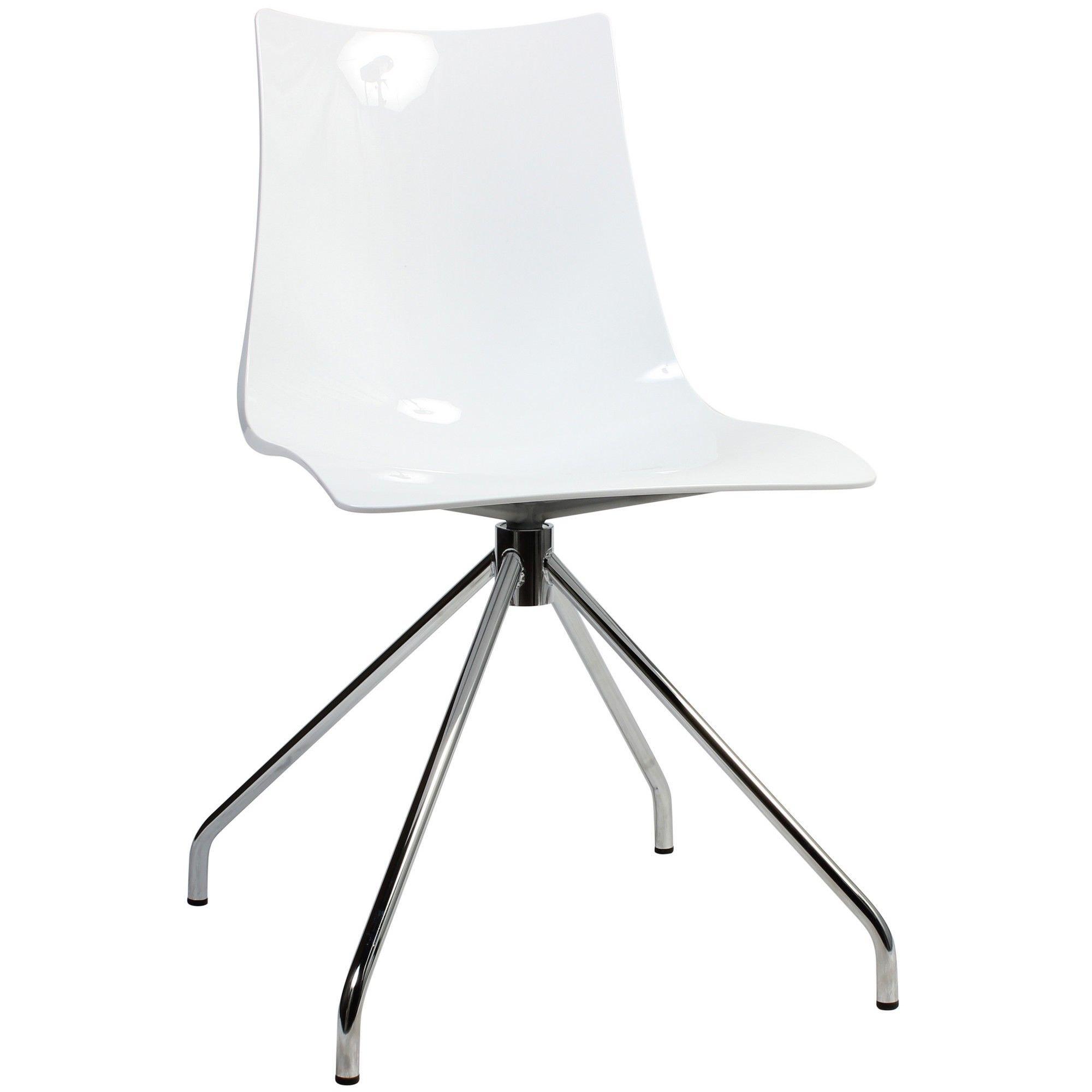 Zebra Italian Made Commercial Grade Dining Chair, Trestle Leg, White / Chrome