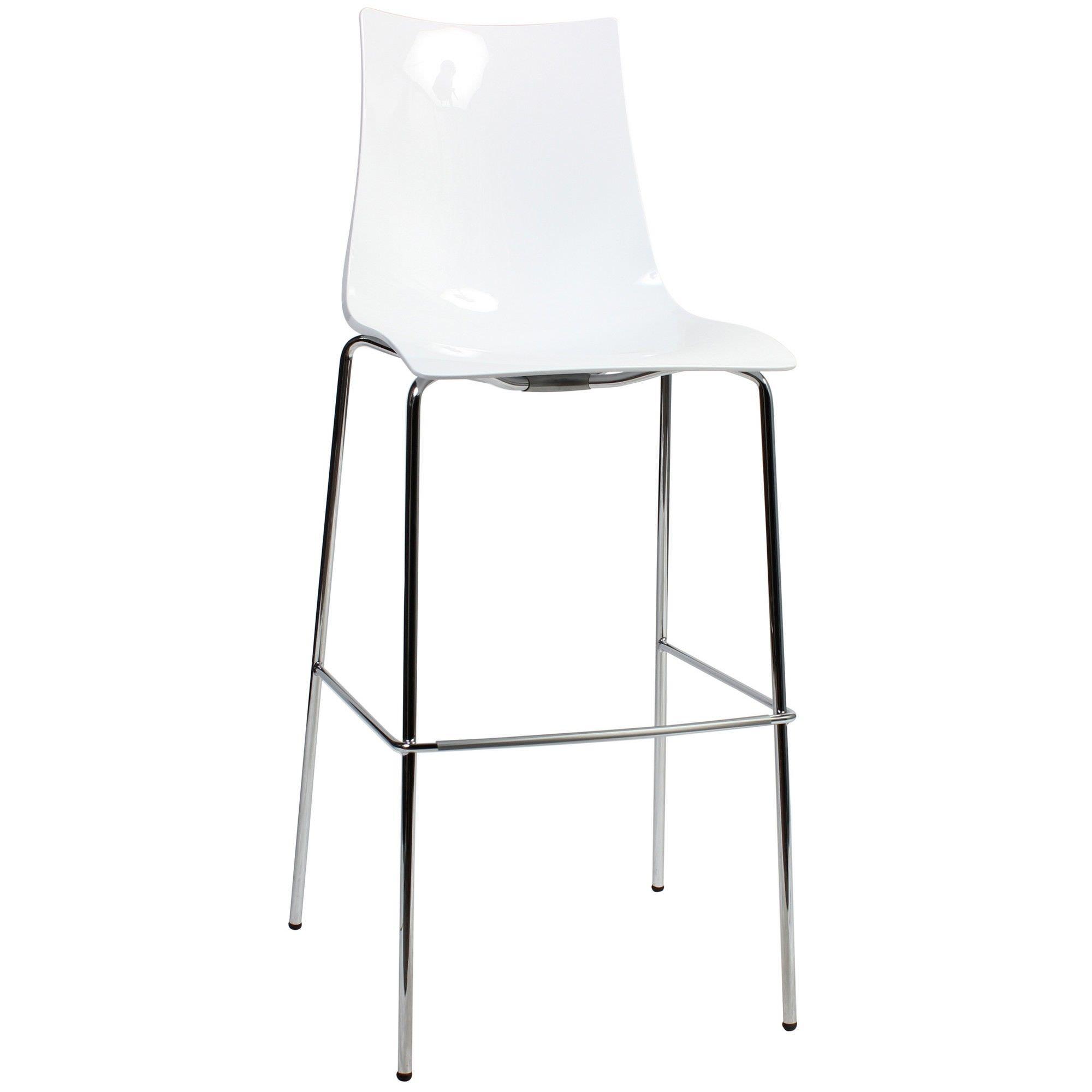 Zebra Italian Made Commercial Grade Bar Stool, Metal Leg, White / Chrome