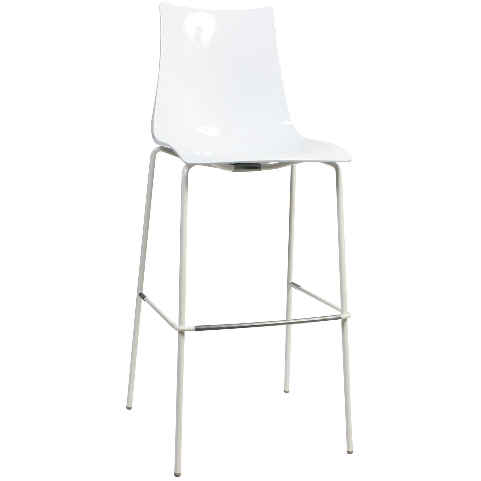 Zebra Italian Made Commercial Grade Indoor/Outdoor Bar Stool, Metal Leg, White