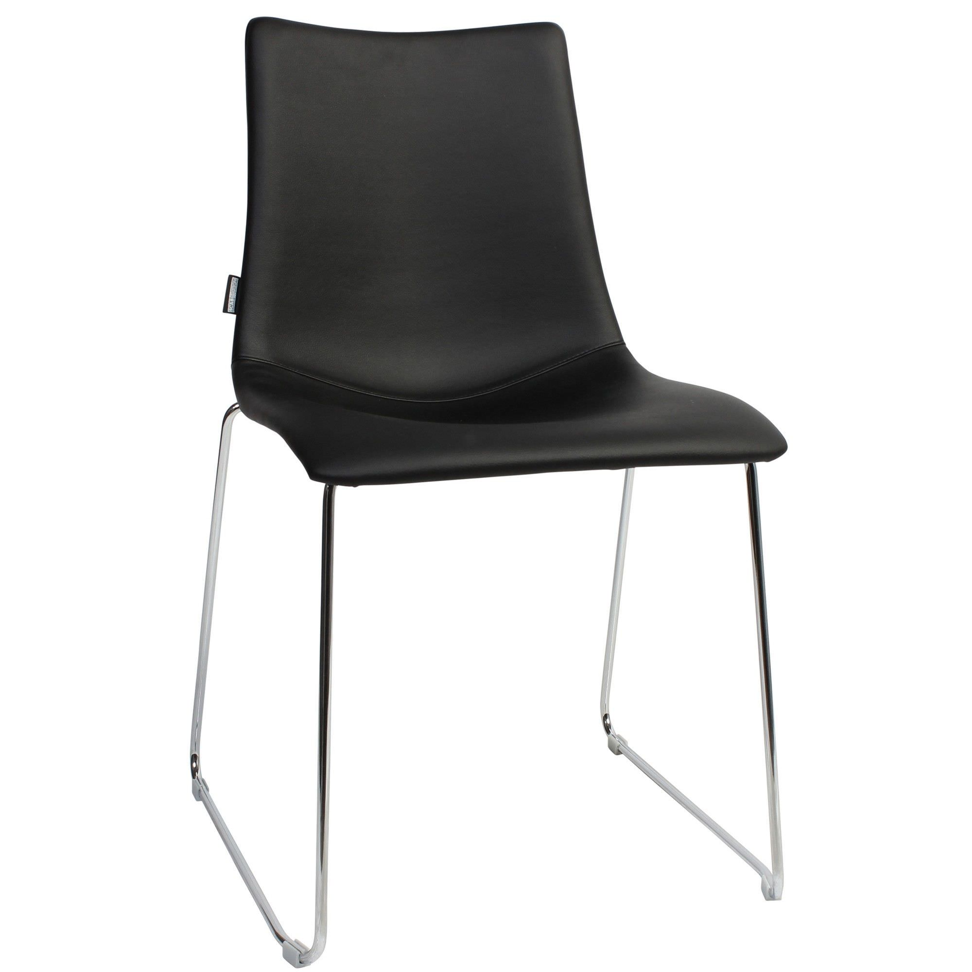 Zebra Pop Italian Made Commercial Grade Vinyl Dining Chair, Sled Leg, Black / Chrome