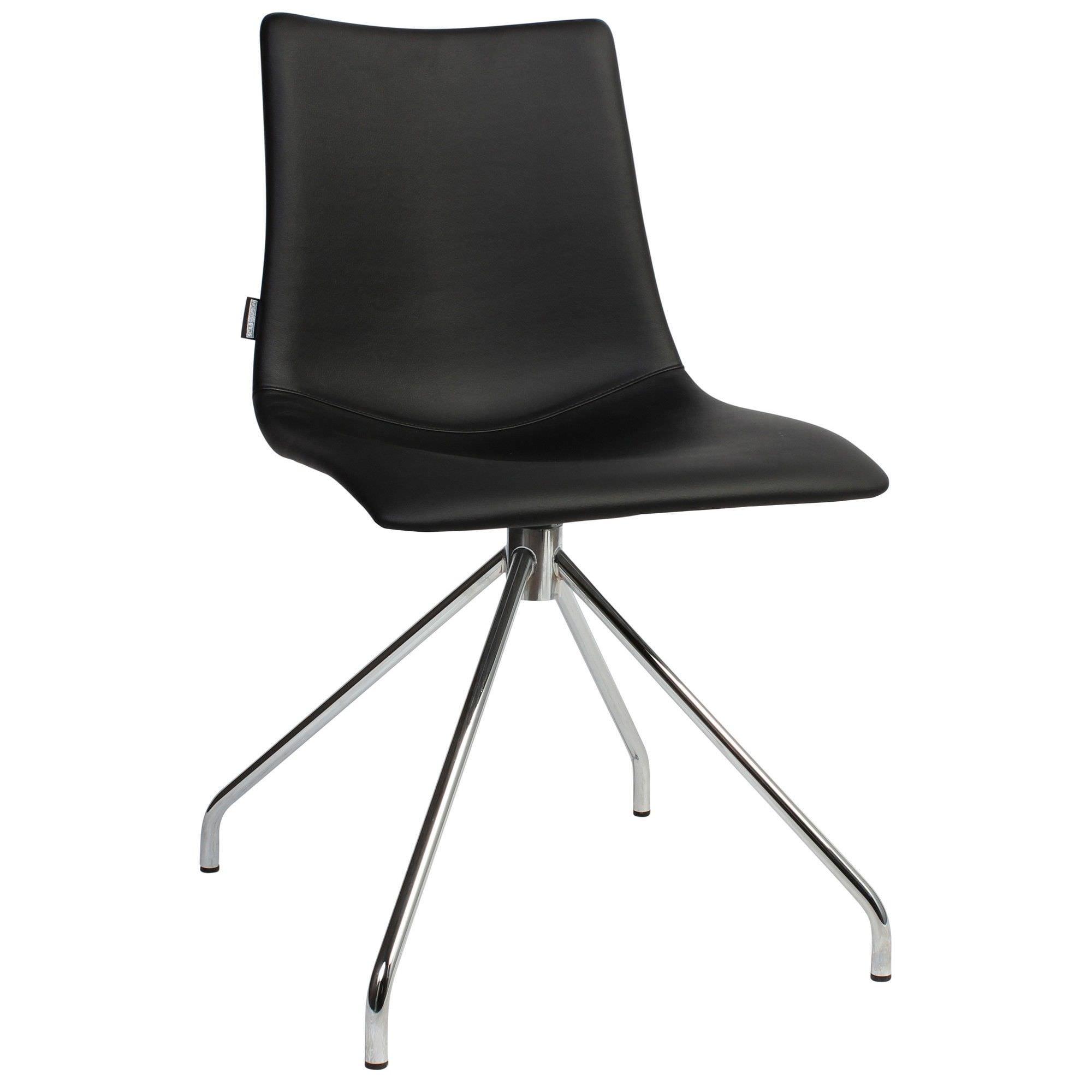 Zebra Pop Italian Made Commercial Grade Vinyl Dining Chair, Trestle Leg, Black / Chrome