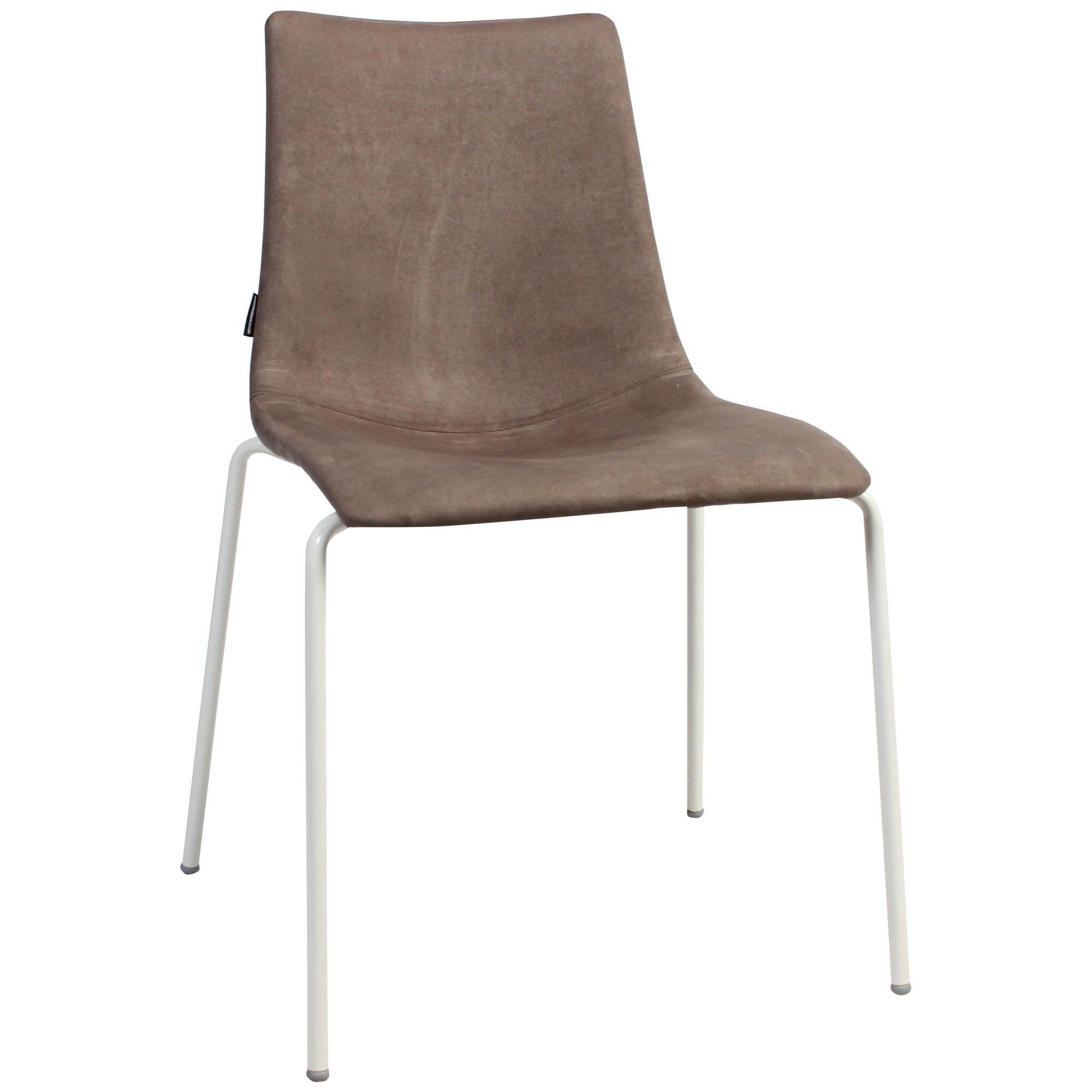 Zebra Pop Italian Made Commercial Grade Fabric Dining Chair, Metal Leg, Brown / White