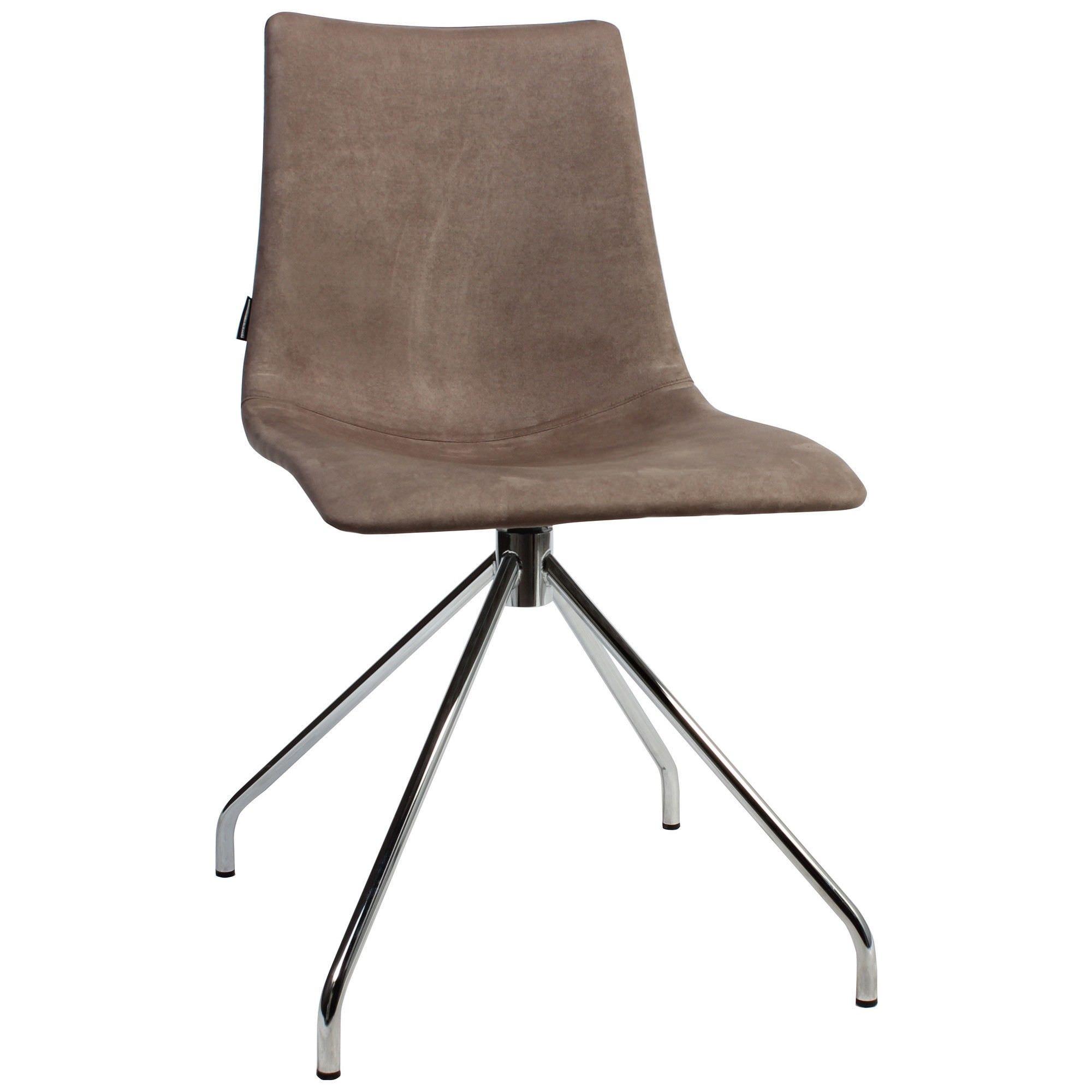 Zebra Pop Italian Made Commercial Grade Fabric Dining Chair, Trestle Leg, Brown / Chrome