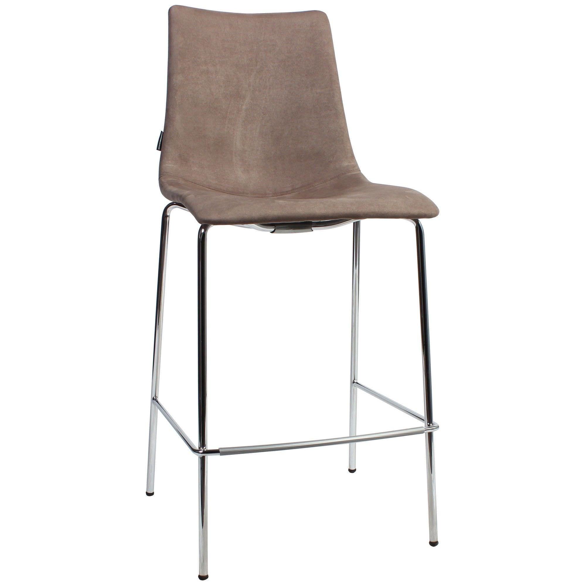 Zebra Pop Italian Made Commercial Grade Fabric Counter Stool, Metal Leg, Brown / Chrome
