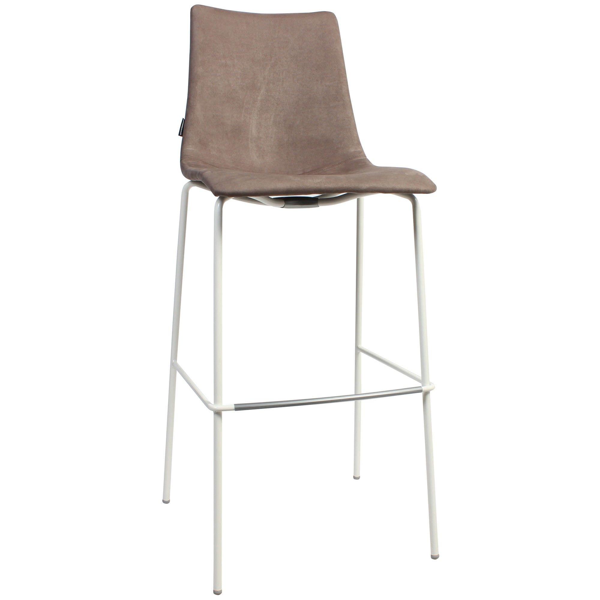 Zebra Pop Italian Made Commercial Grade Fabric Bar Stool, Metal Leg, Brown / White