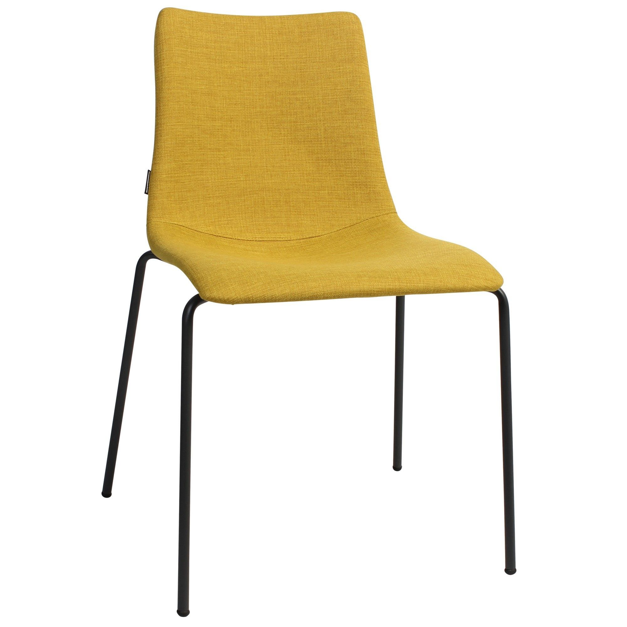 Zebra Pop Italian Made Commercial Grade Fabric Dining Chair, Metal Leg, Saffron / Anthracite