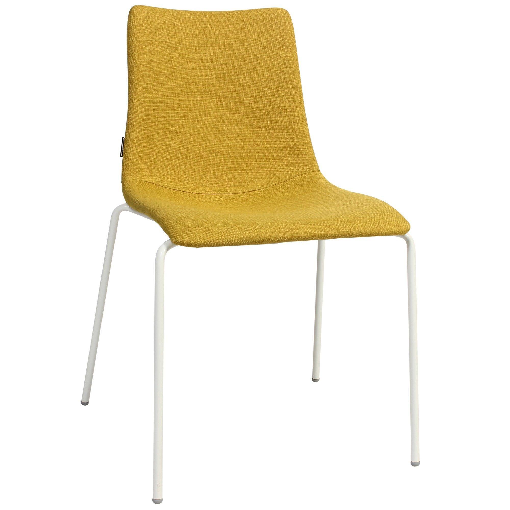 Zebra Pop Italian Made Commercial Grade Fabric Dining Chair, Metal Leg, Saffron / White