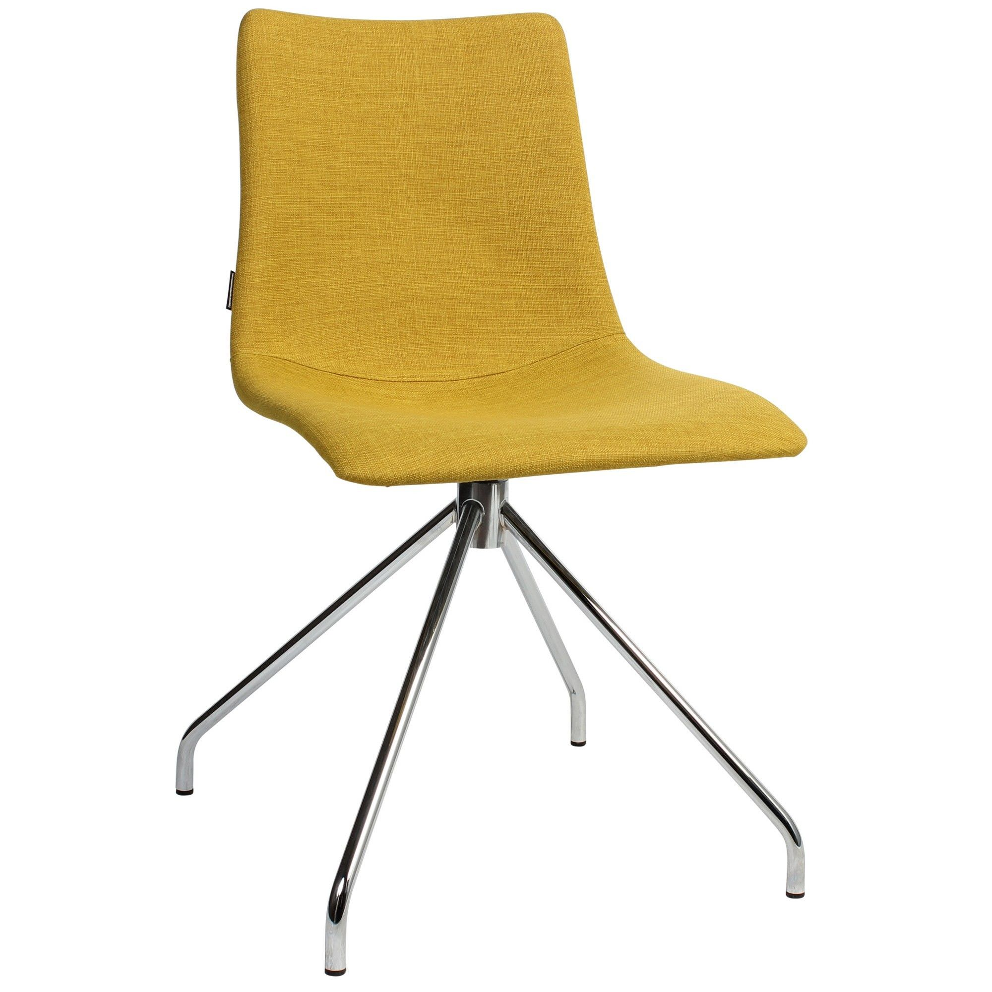 Zebra Pop Italian Made Commercial Grade Fabric Dining Chair, Trestle Leg, Saffron / Chrome