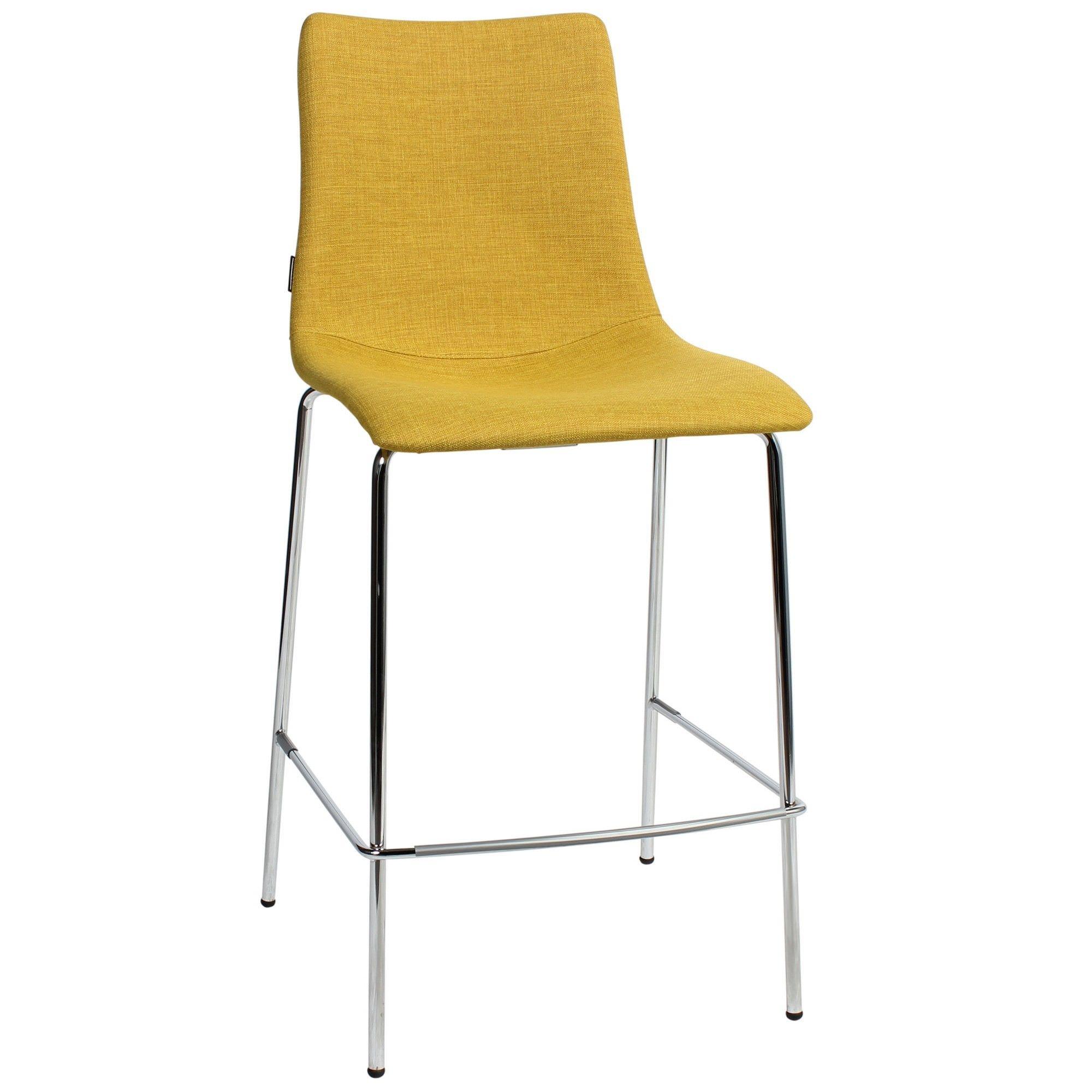 Zebra Pop Italian Made Commercial Grade Fabric Counter Stool, Metal Leg, Saffron / Chrome