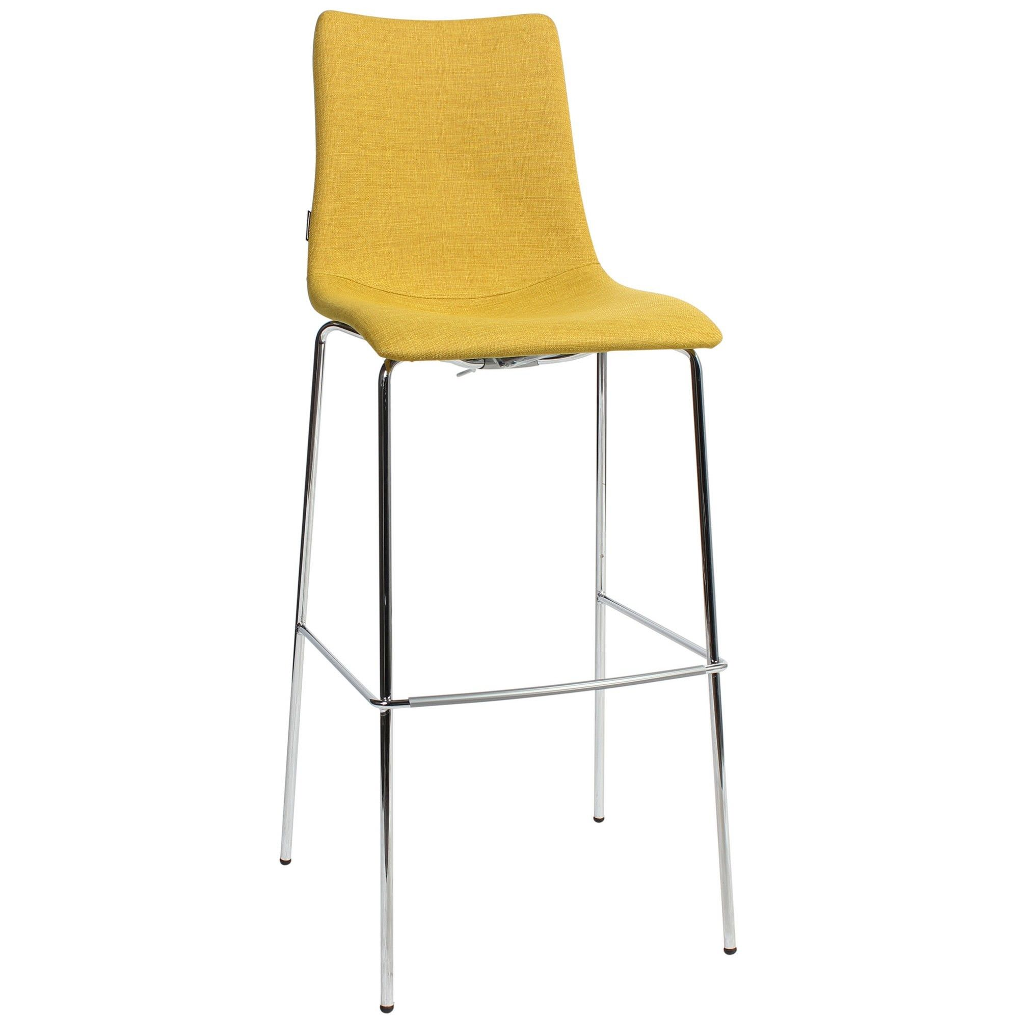 Zebra Pop Italian Made Commercial Grade Fabric Bar Stool, Metal Leg, Saffron / Chrome