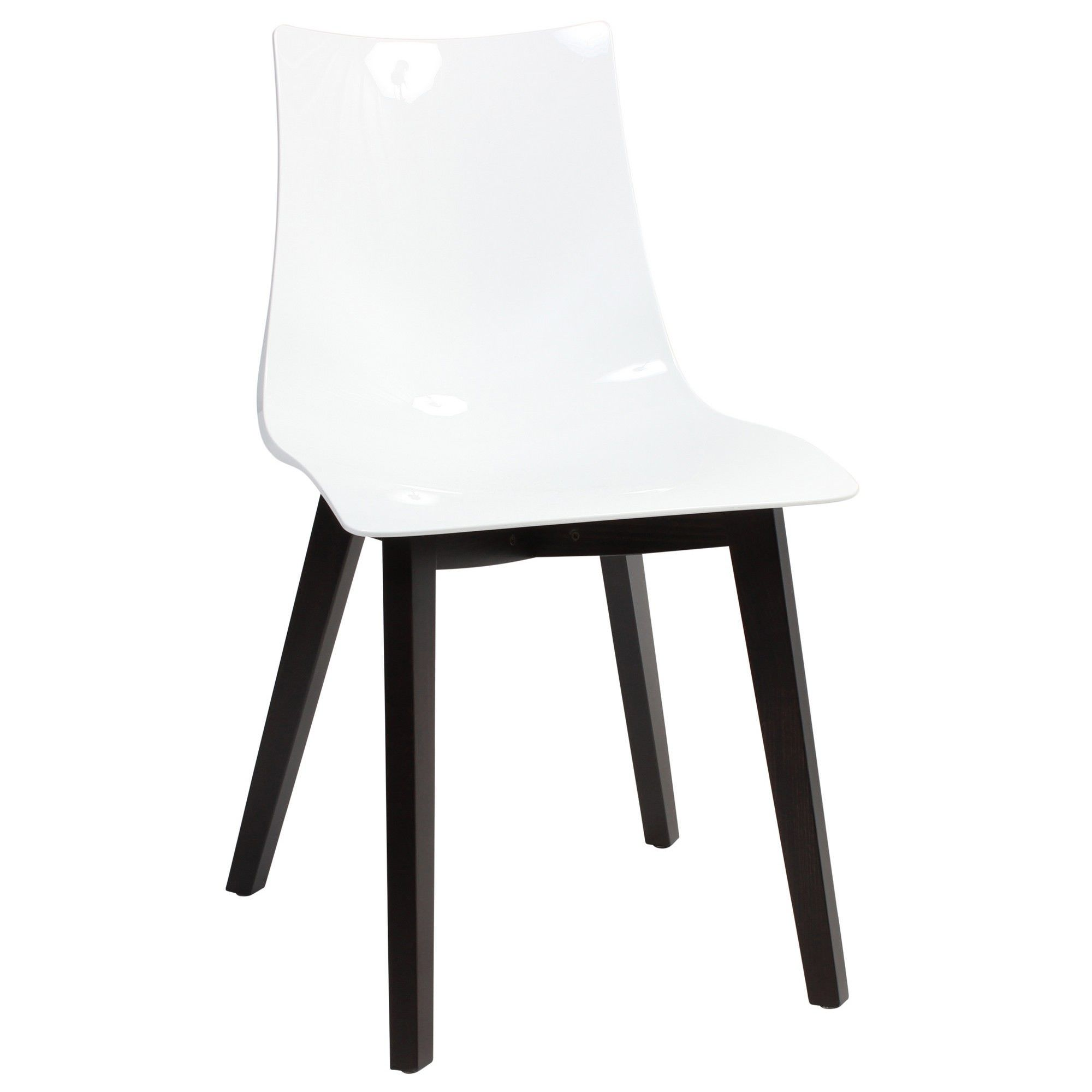 Zebra Italian Made Commercial Grade Dining Chair, Timber Leg, White / Wenge
