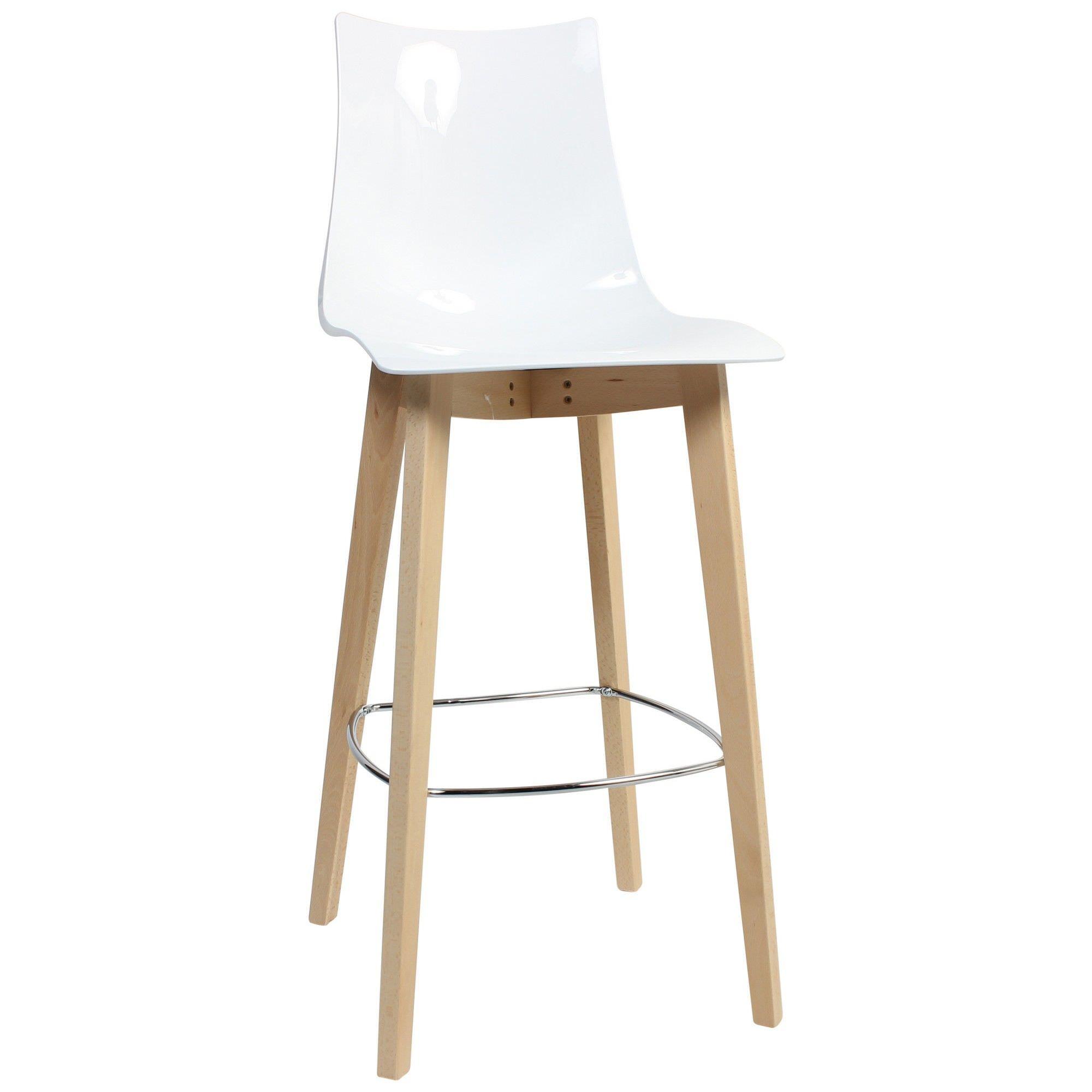 Zebra Italian Made Commercial Grade Bar Stool, Timber Leg, White / Natural