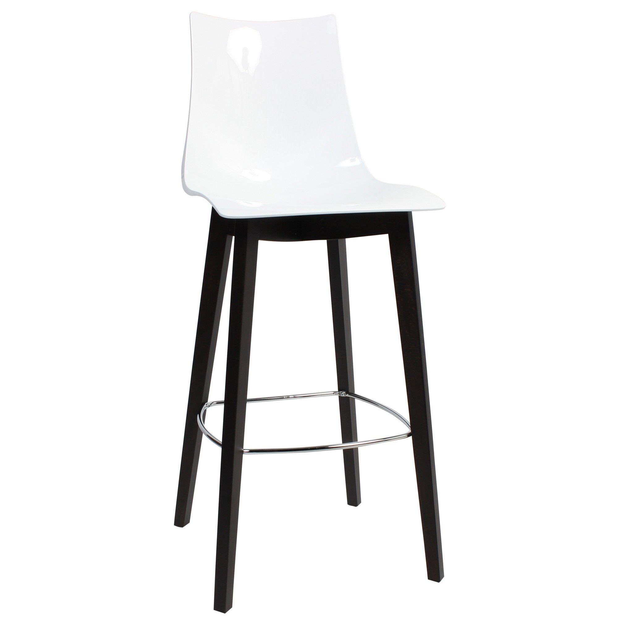 Zebra Italian Made Commercial Grade Bar Stool, Timber Leg, White / Wenge