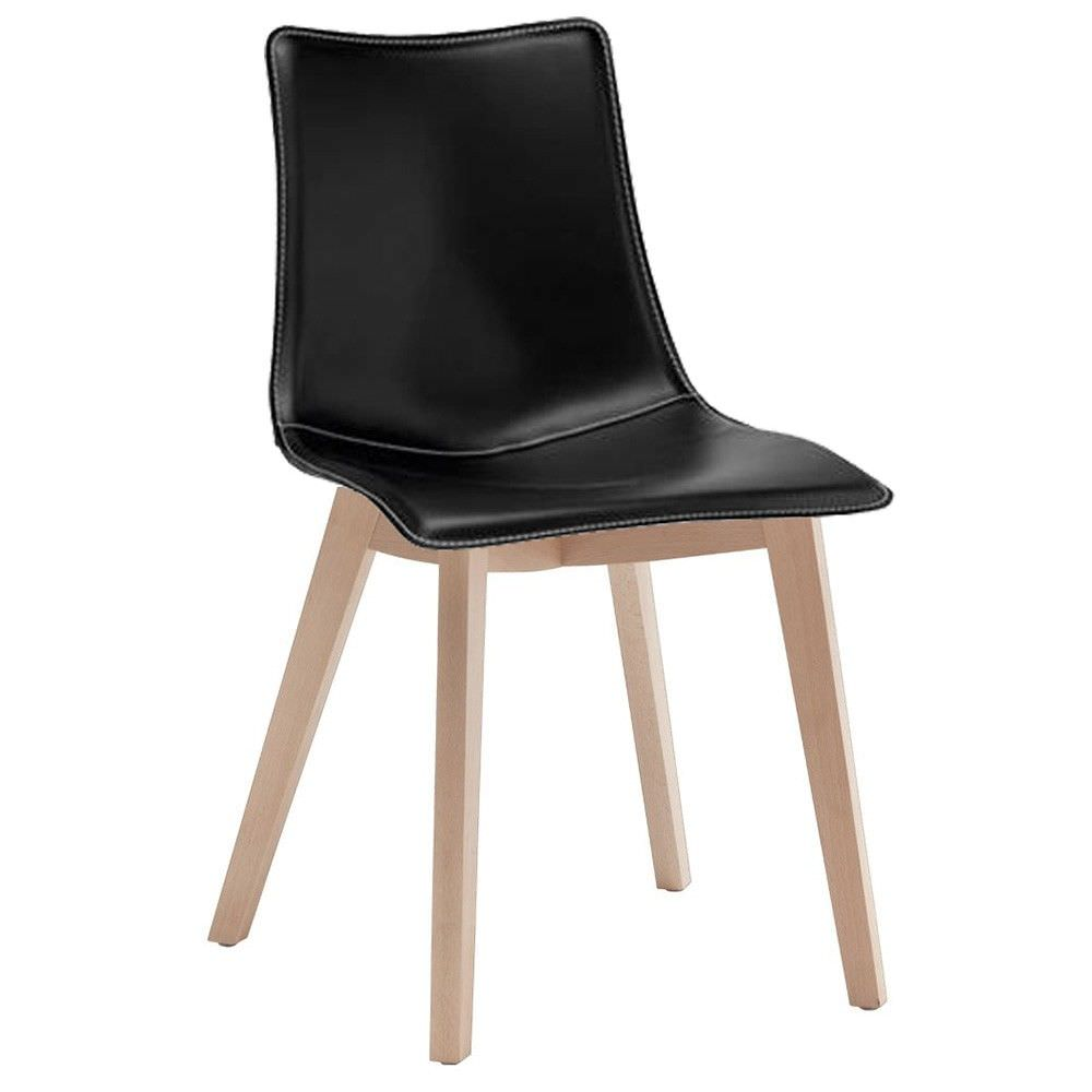 Zebra Pop Italian Made Commercial Grade Vinyl Dining Chair, Timber Leg, Black / Natural