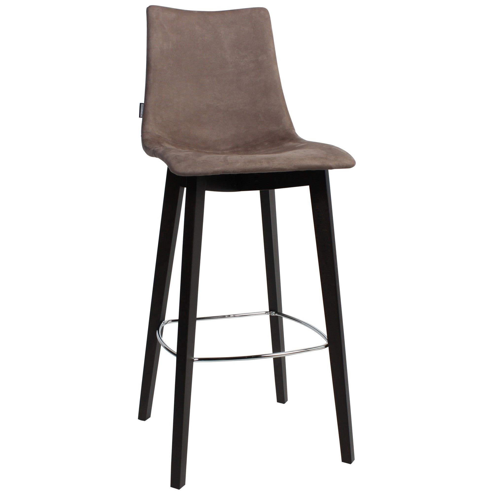 Zebra Pop Italian Made Commercial Grade Fabric Bar Stool, Timber Leg, Brown / Wenge
