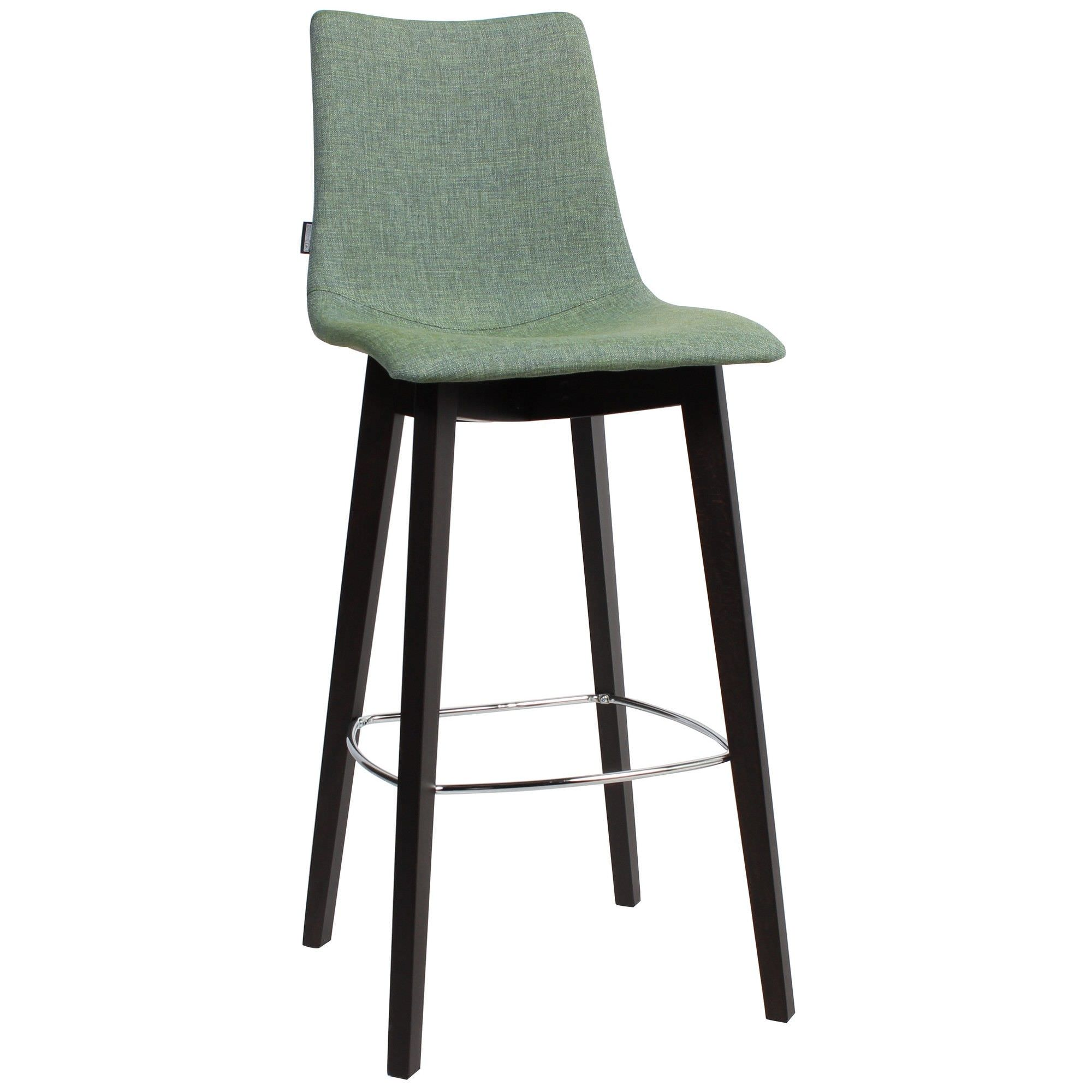 Zebra Pop Italian Made Commercial Grade Fabric Bar Stool, Timber Leg, Jade / Wenge