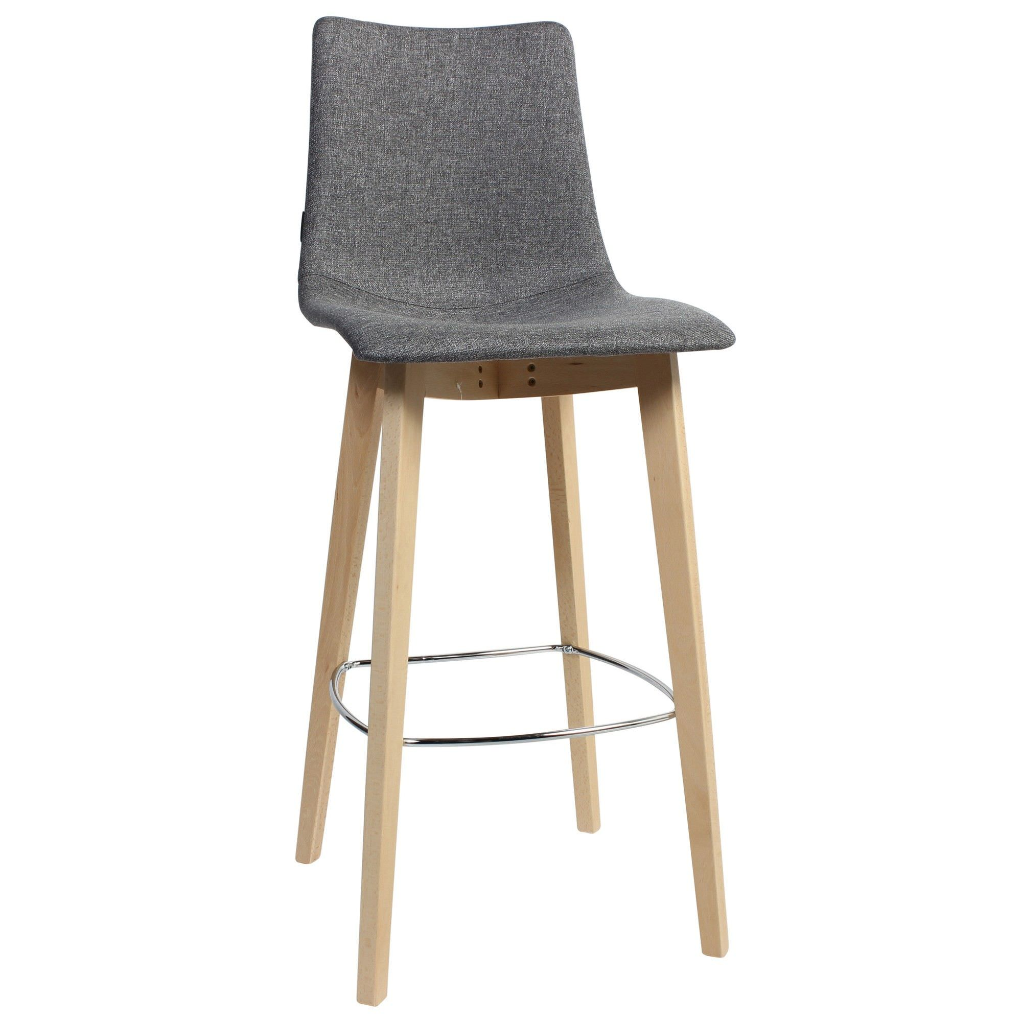 Zebra Pop Italian Made Commercial Grade Fabric Bar Stool, Timber Leg, Grey / Natural